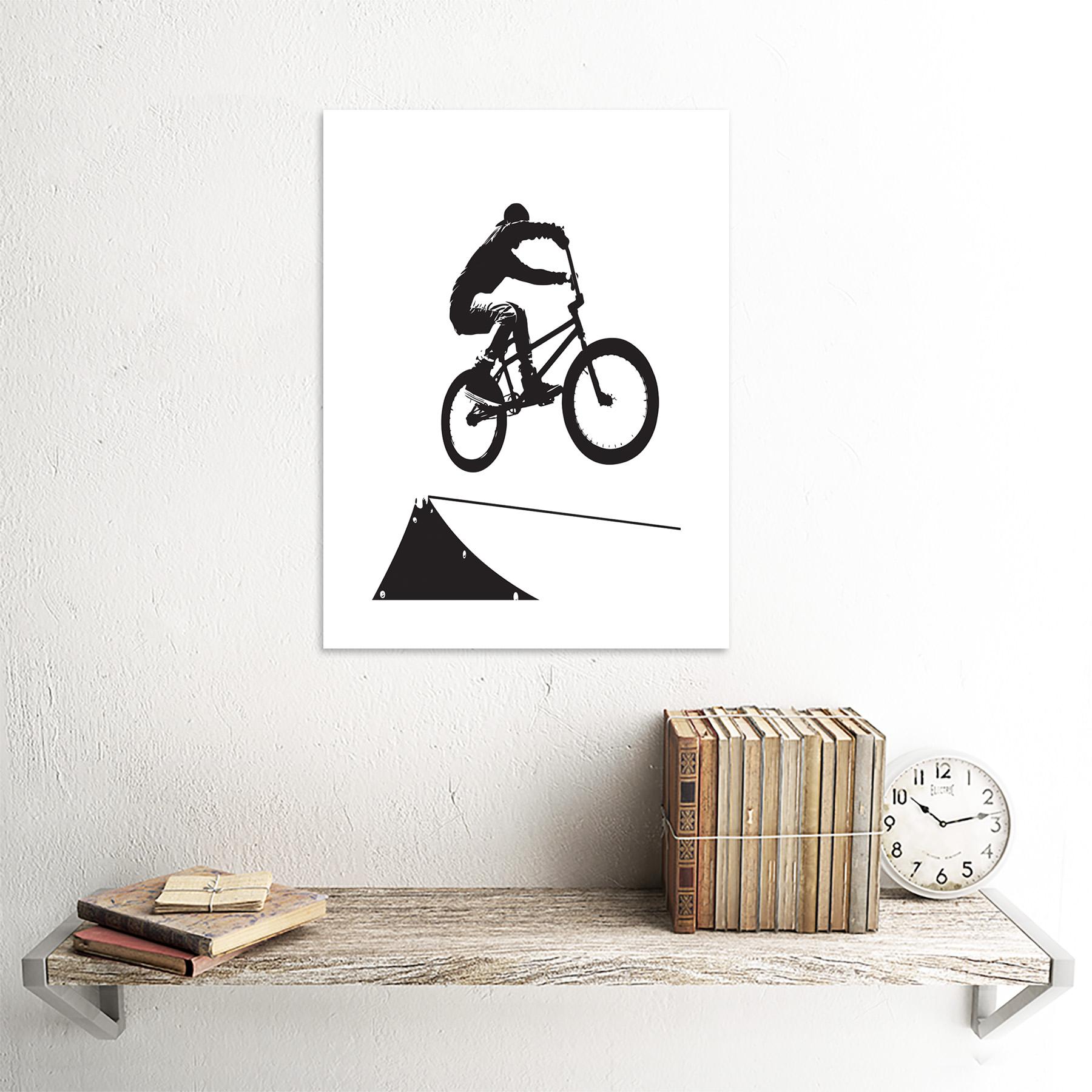 "Indexbild 18 - Painting Sport Bmx Bike Bicycle Jump Air Ramp Black White Framed Print 12x16"""