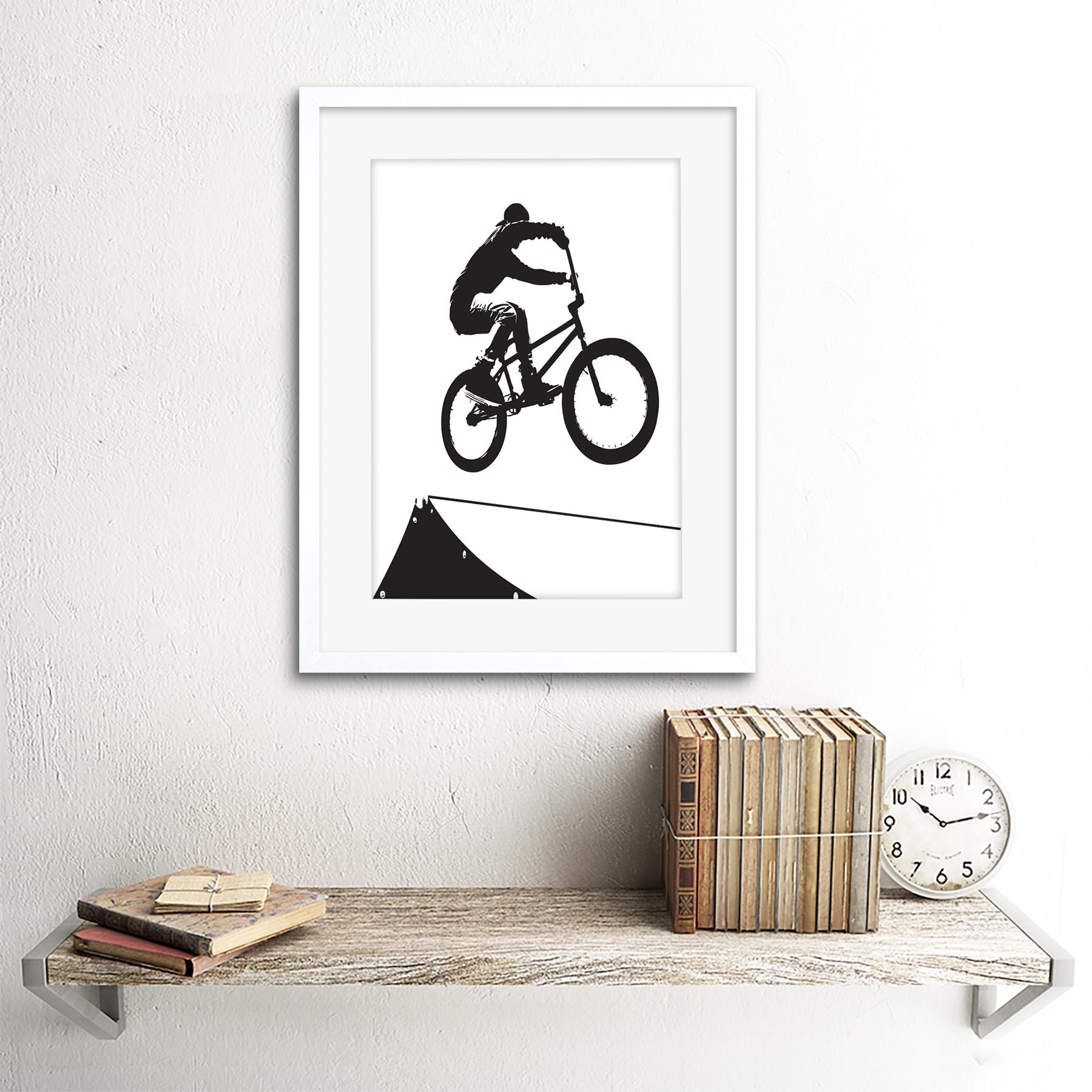 "Indexbild 22 - Painting Sport Bmx Bike Bicycle Jump Air Ramp Black White Framed Print 12x16"""