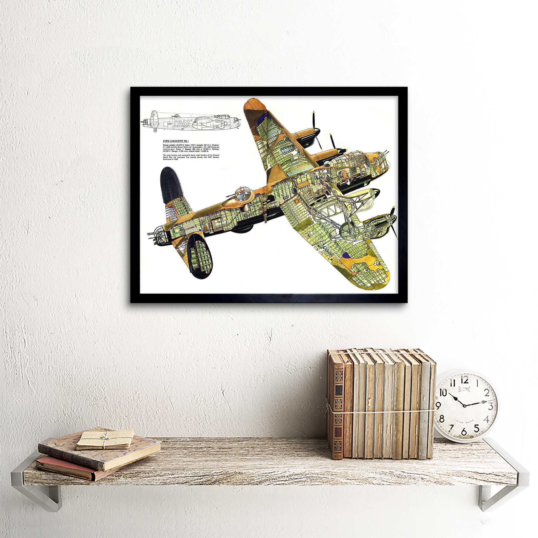 WAR PLANE BOMBER AVRO LANCASTER CUTAWAY WWII UK FRAME ART PRINT PICTURE F12X1836