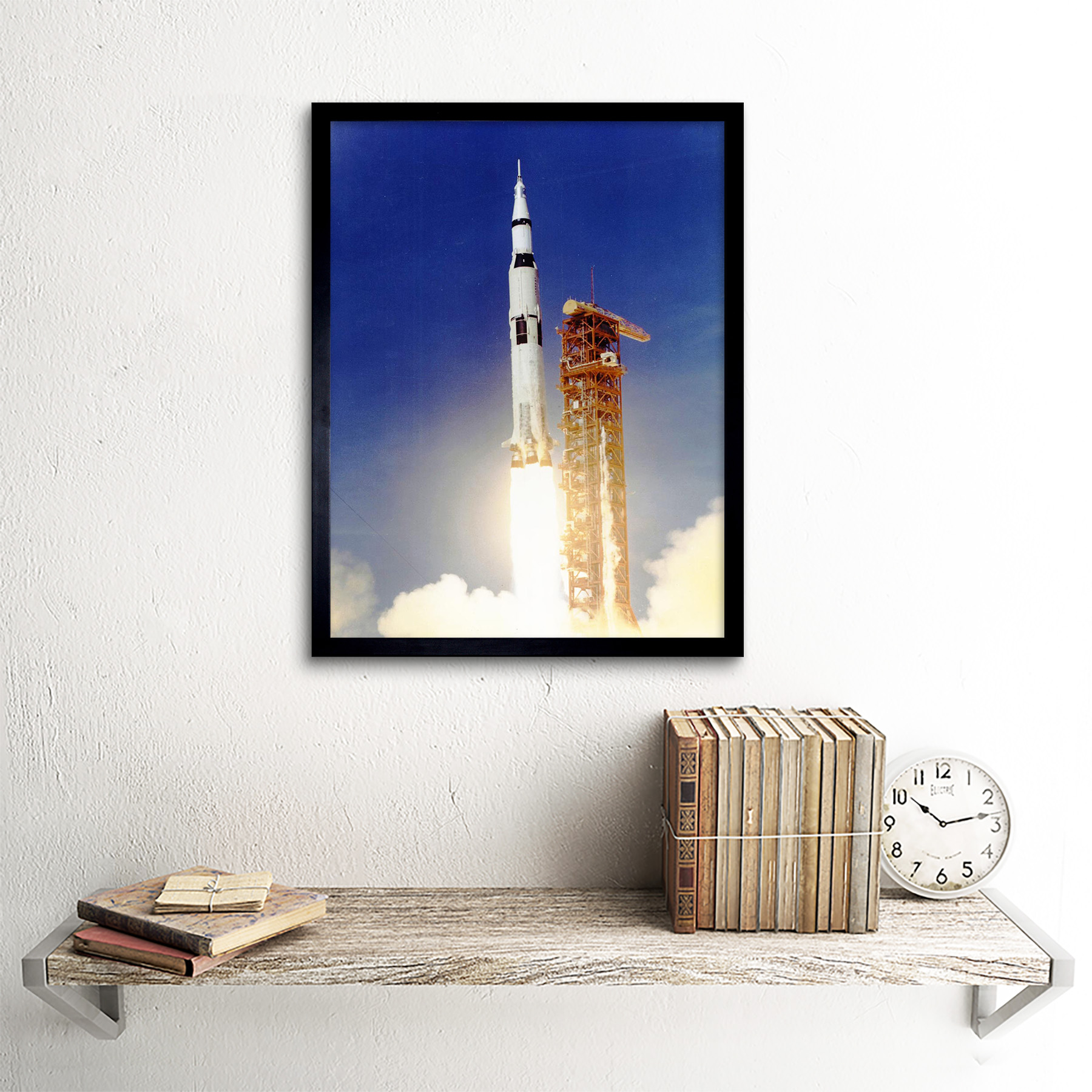 Space Apollo 11 Launch Saturn V Rocket Blast Thrust Flame Usa Framed Art Print