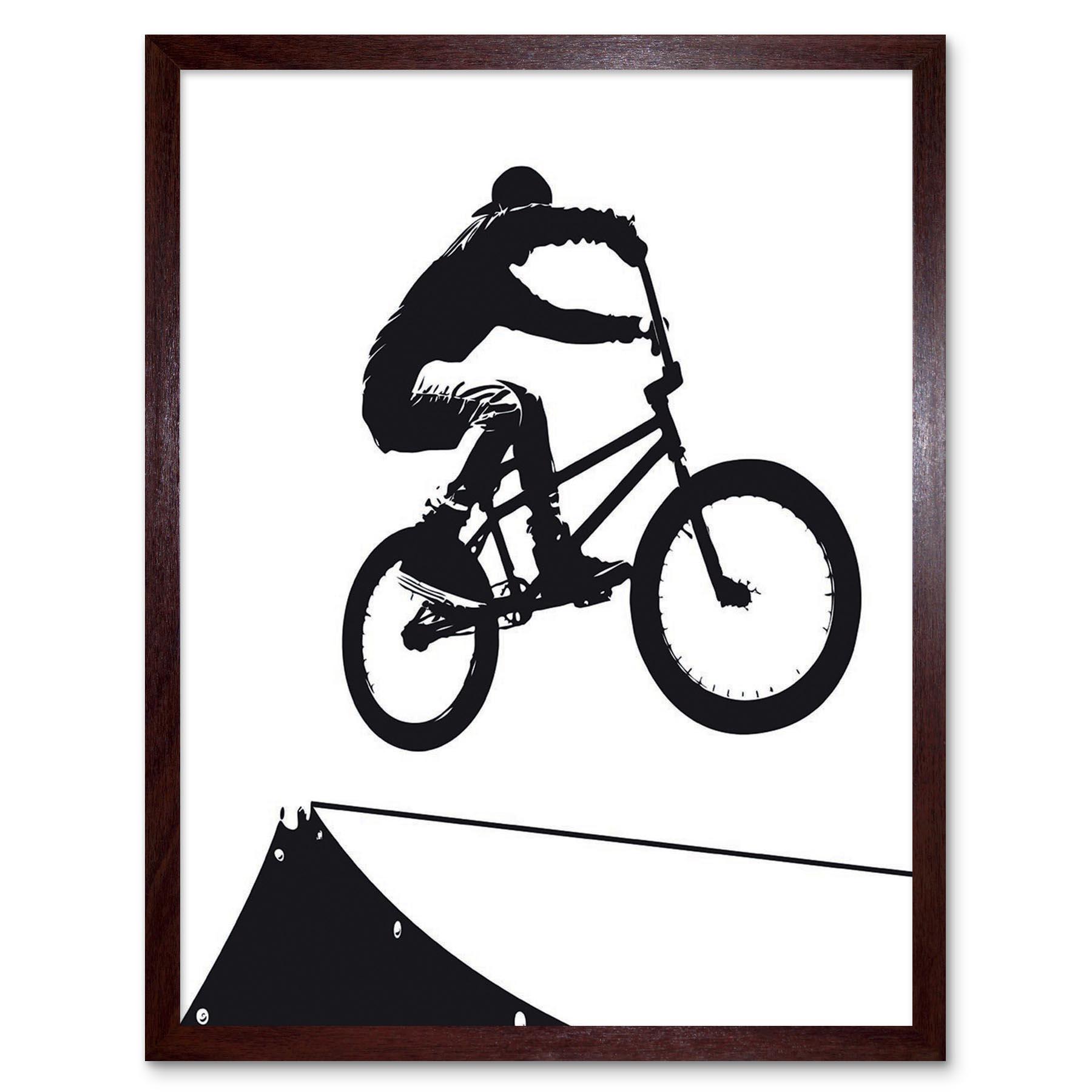 Indexbild 7 - Painting Sport Bmx Bike Bicycle Jump Air Ramp Black White 12X16 Framed Art Print