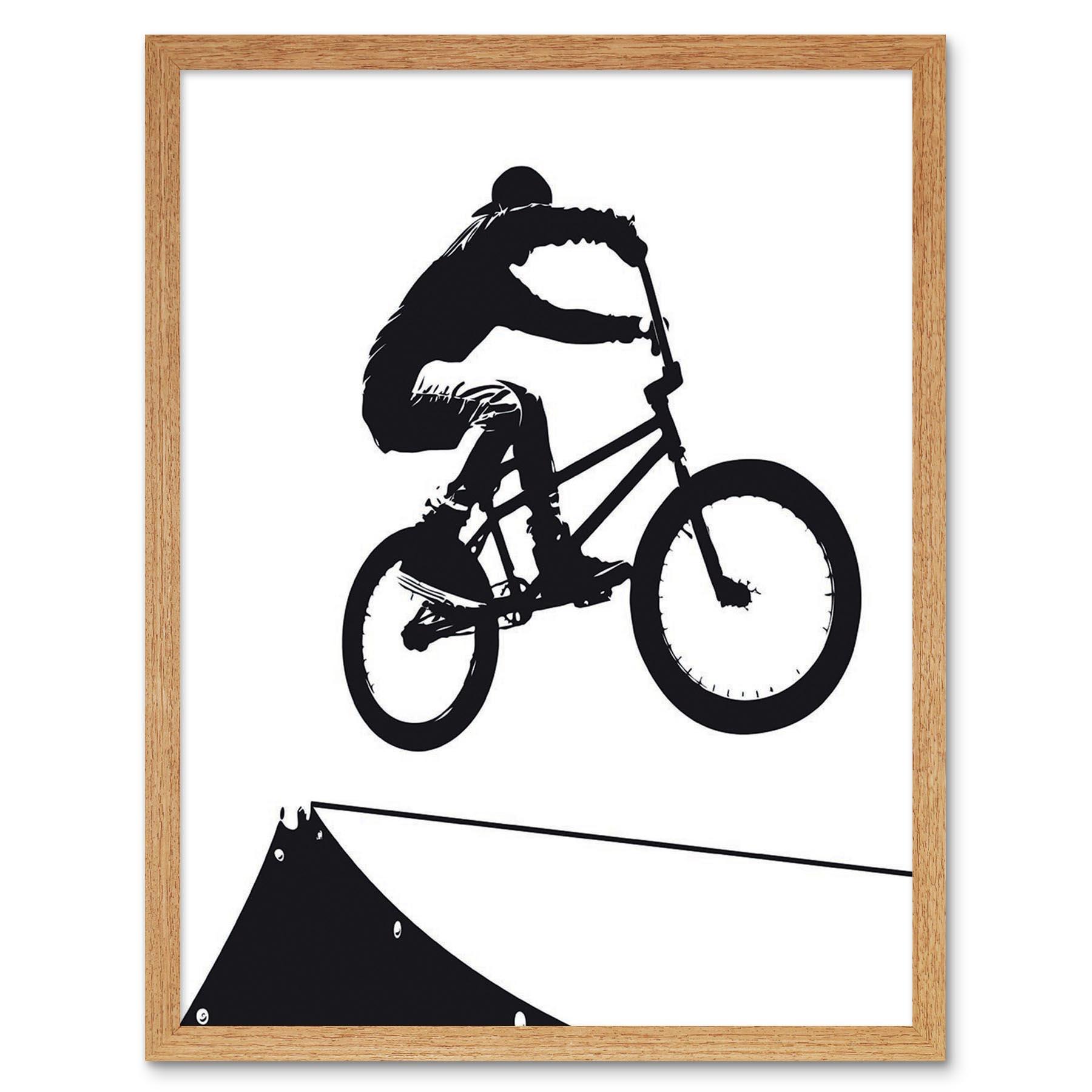 Indexbild 12 - Painting Sport Bmx Bike Bicycle Jump Air Ramp Black White 12X16 Framed Art Print
