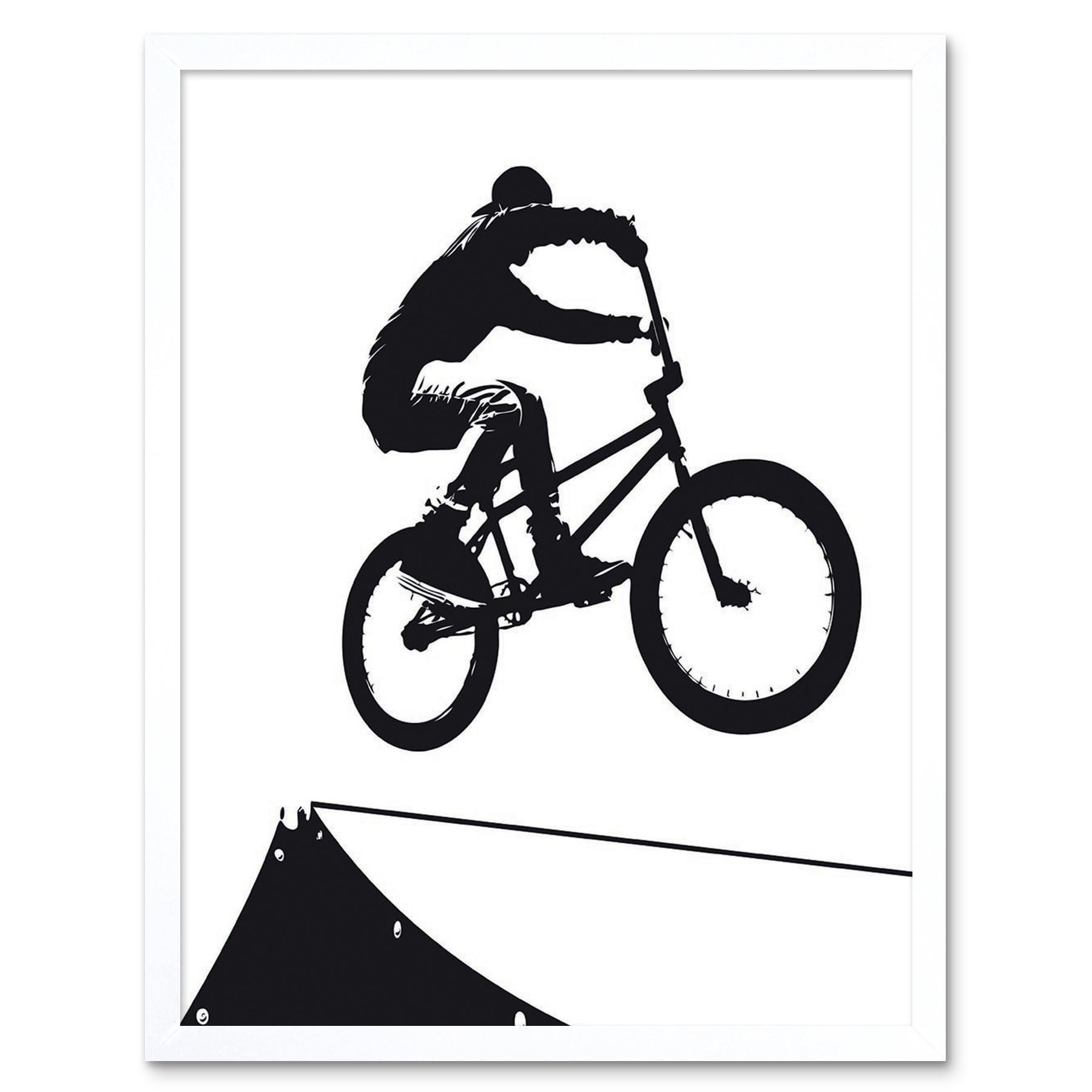 Indexbild 17 - Painting Sport Bmx Bike Bicycle Jump Air Ramp Black White 12X16 Framed Art Print