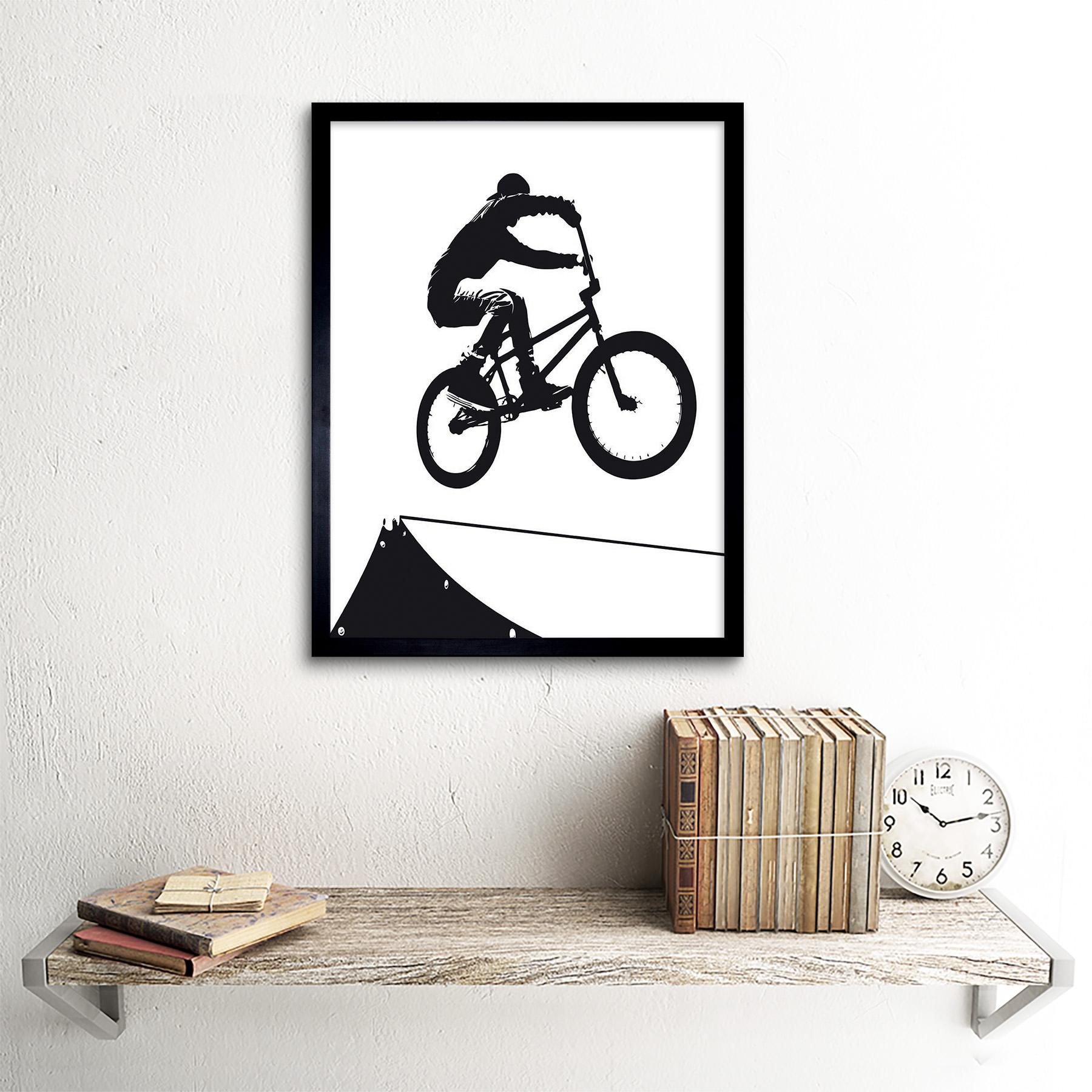 Indexbild 3 - Painting Sport Bmx Bike Bicycle Jump Air Ramp Black White 12X16 Framed Art Print