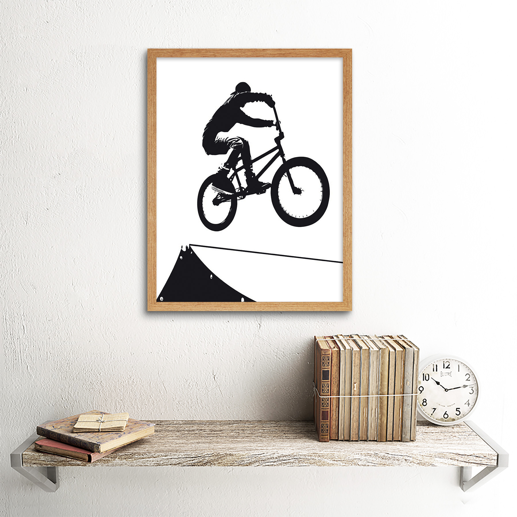 Indexbild 13 - Painting Sport Bmx Bike Bicycle Jump Air Ramp Black White 12X16 Framed Art Print