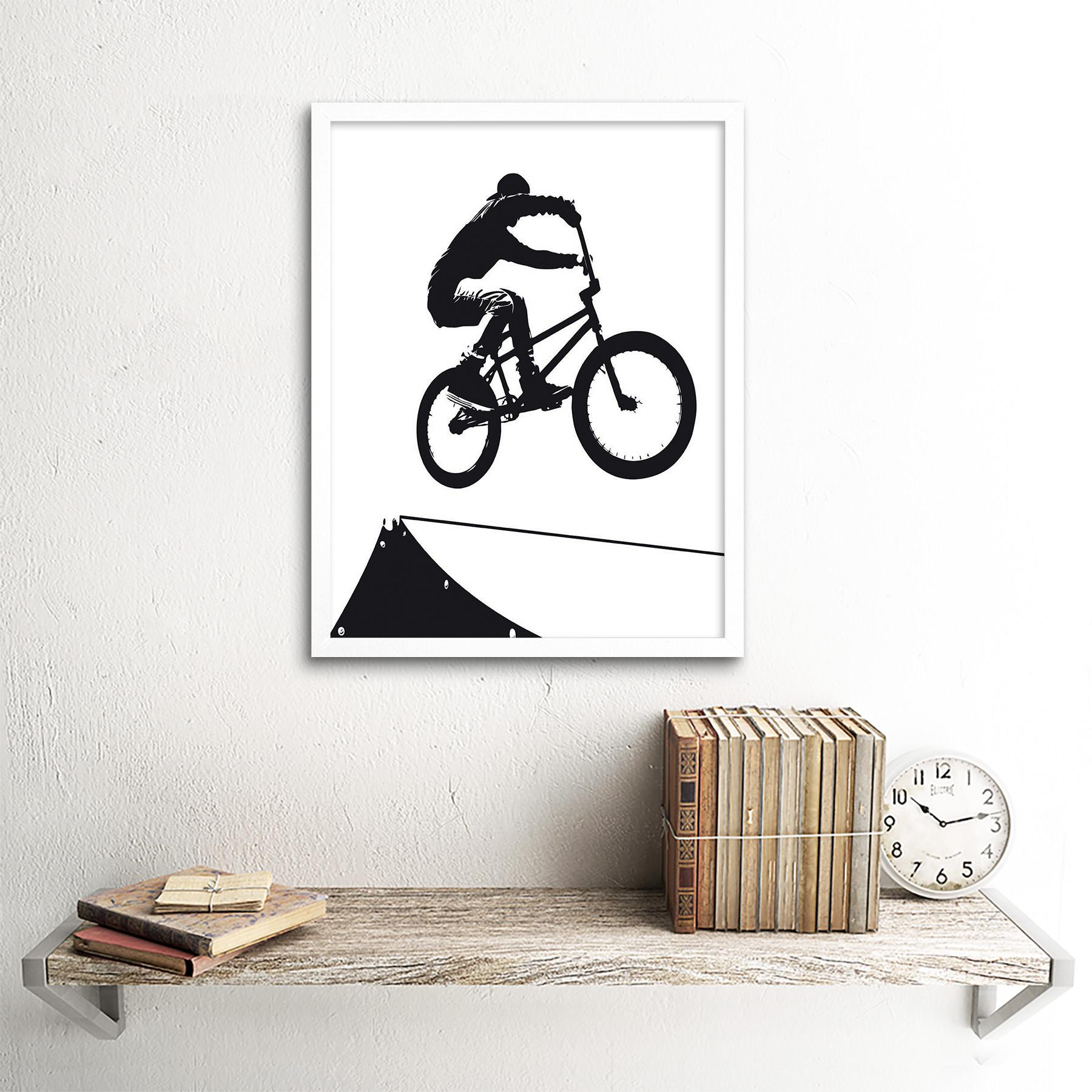 Indexbild 18 - Painting Sport Bmx Bike Bicycle Jump Air Ramp Black White 12X16 Framed Art Print