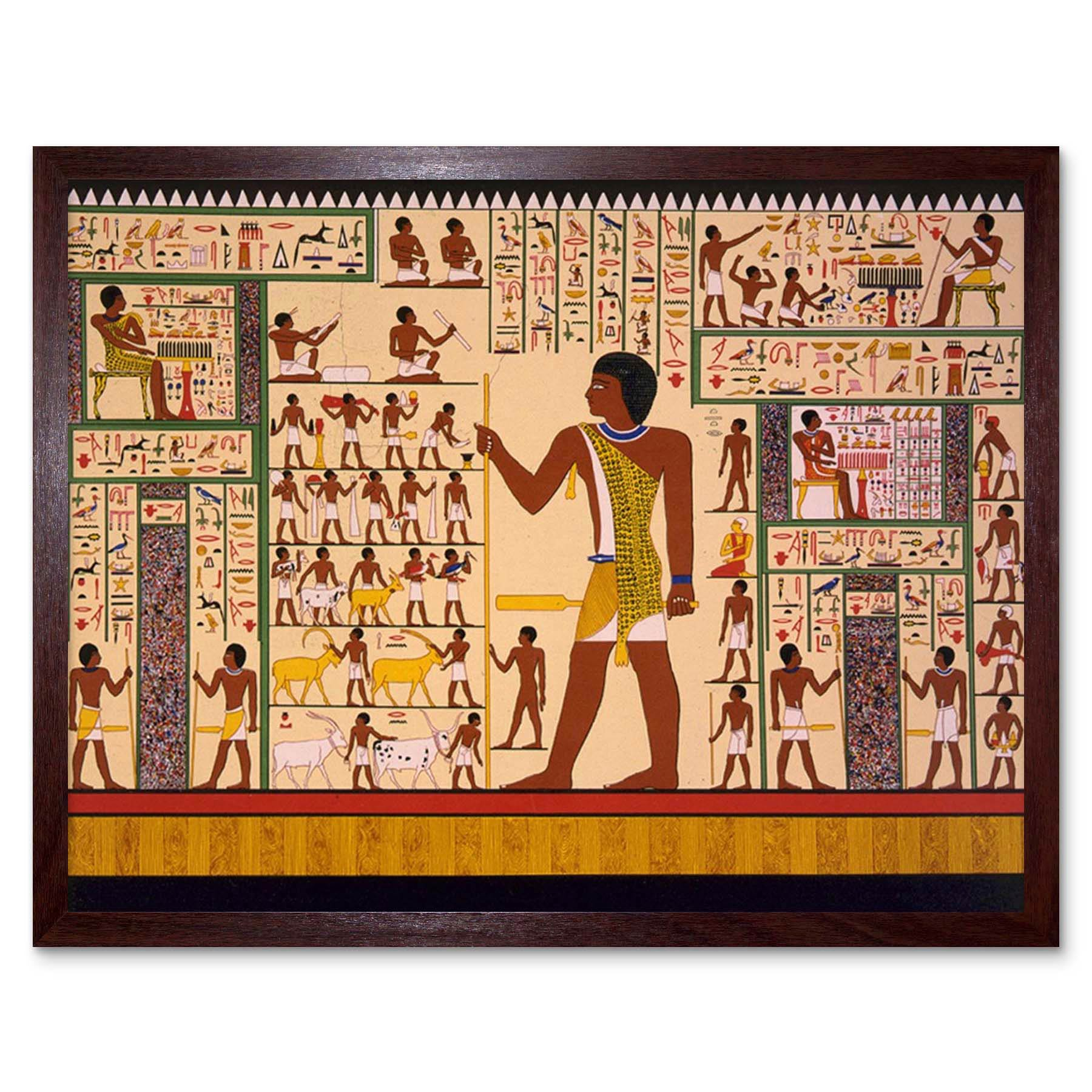 Paintings Drawing Mural Giza Tomb Ancient Egypt Hieroglyphic 12x16