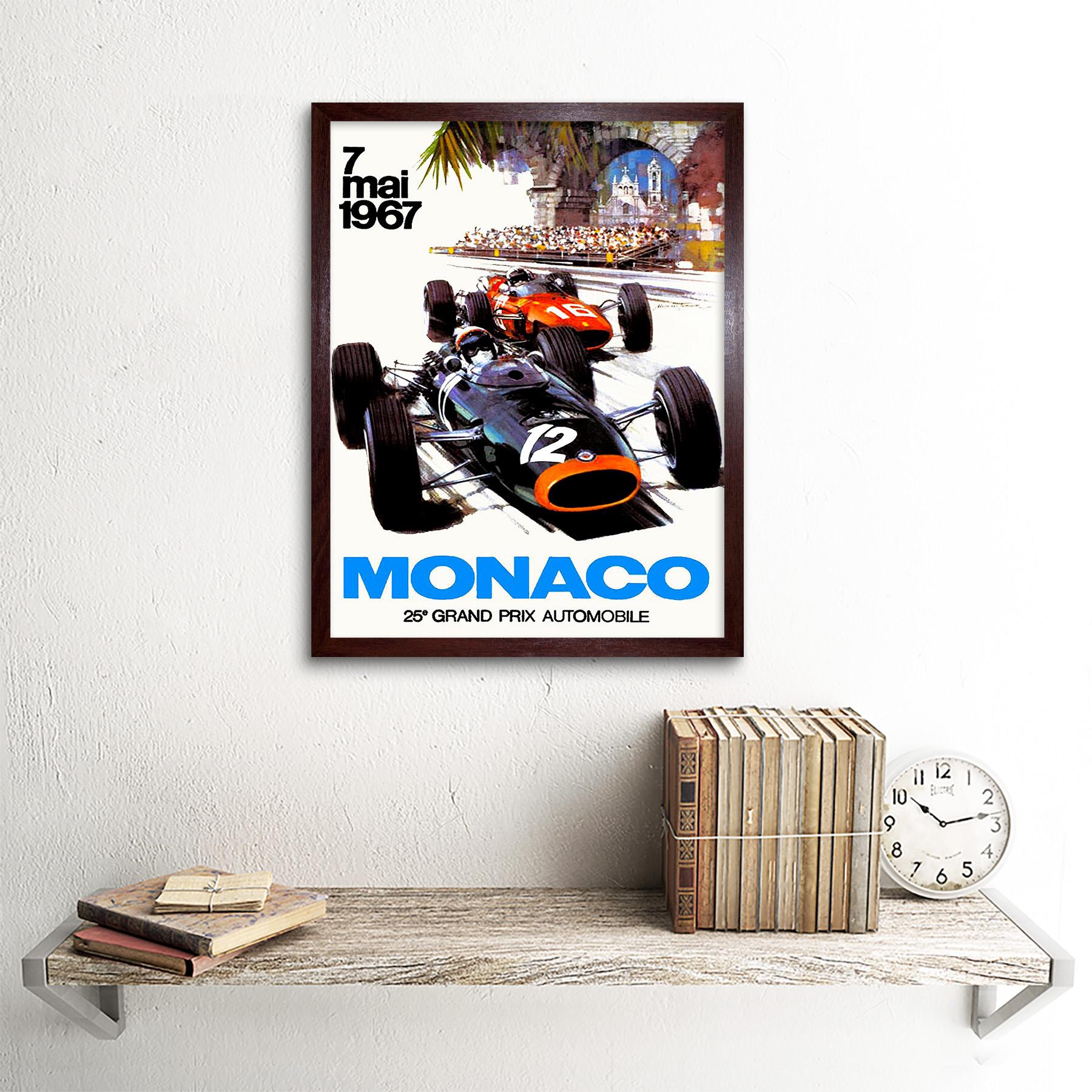 Vintage-Transport-Monaco-25-Grand-Prix-Automobile-1967-Race-12X16-Framed-Print thumbnail 8