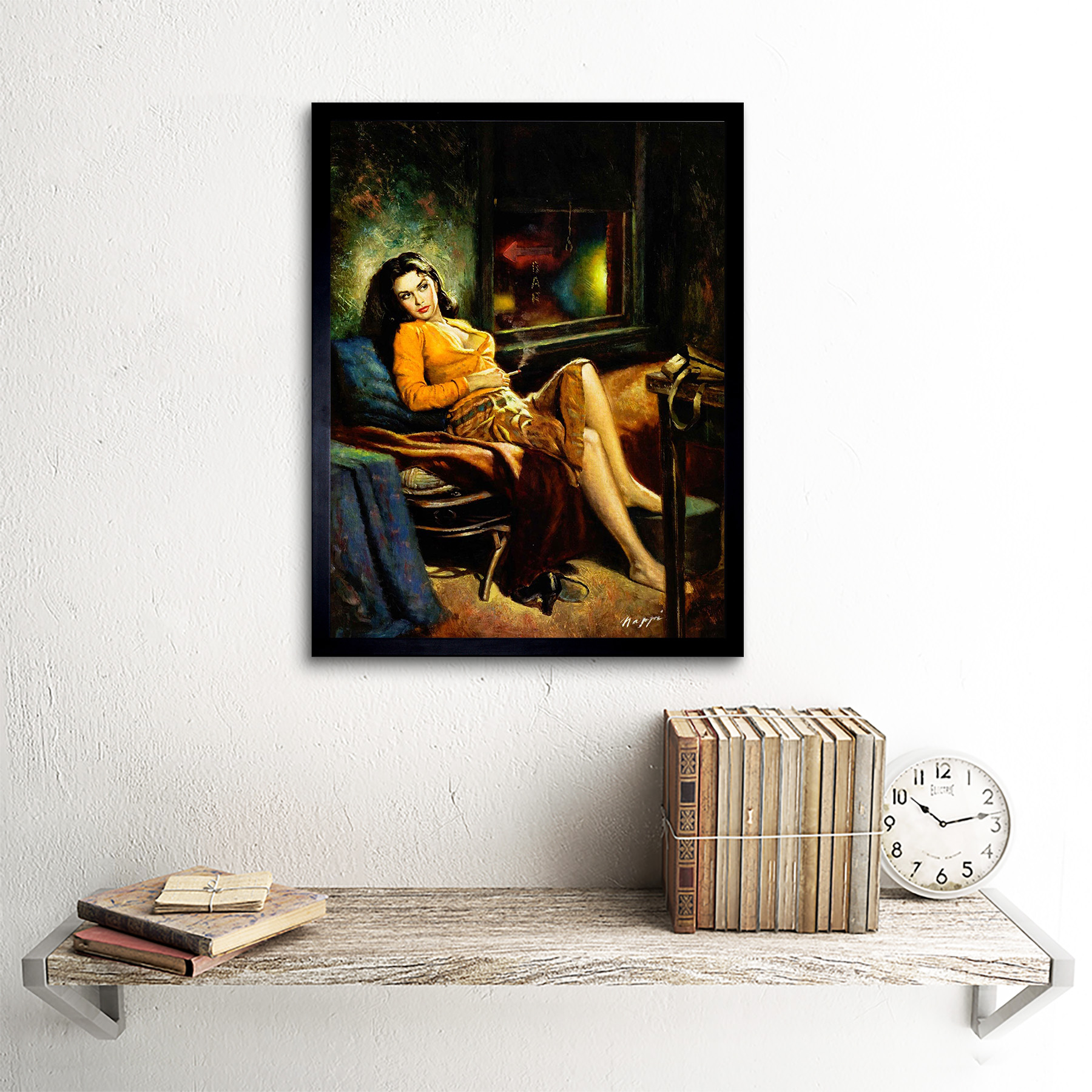 Painting Portrait Smoking Woman Relax Couch Break Sofa Usa 12X16 Framed Print