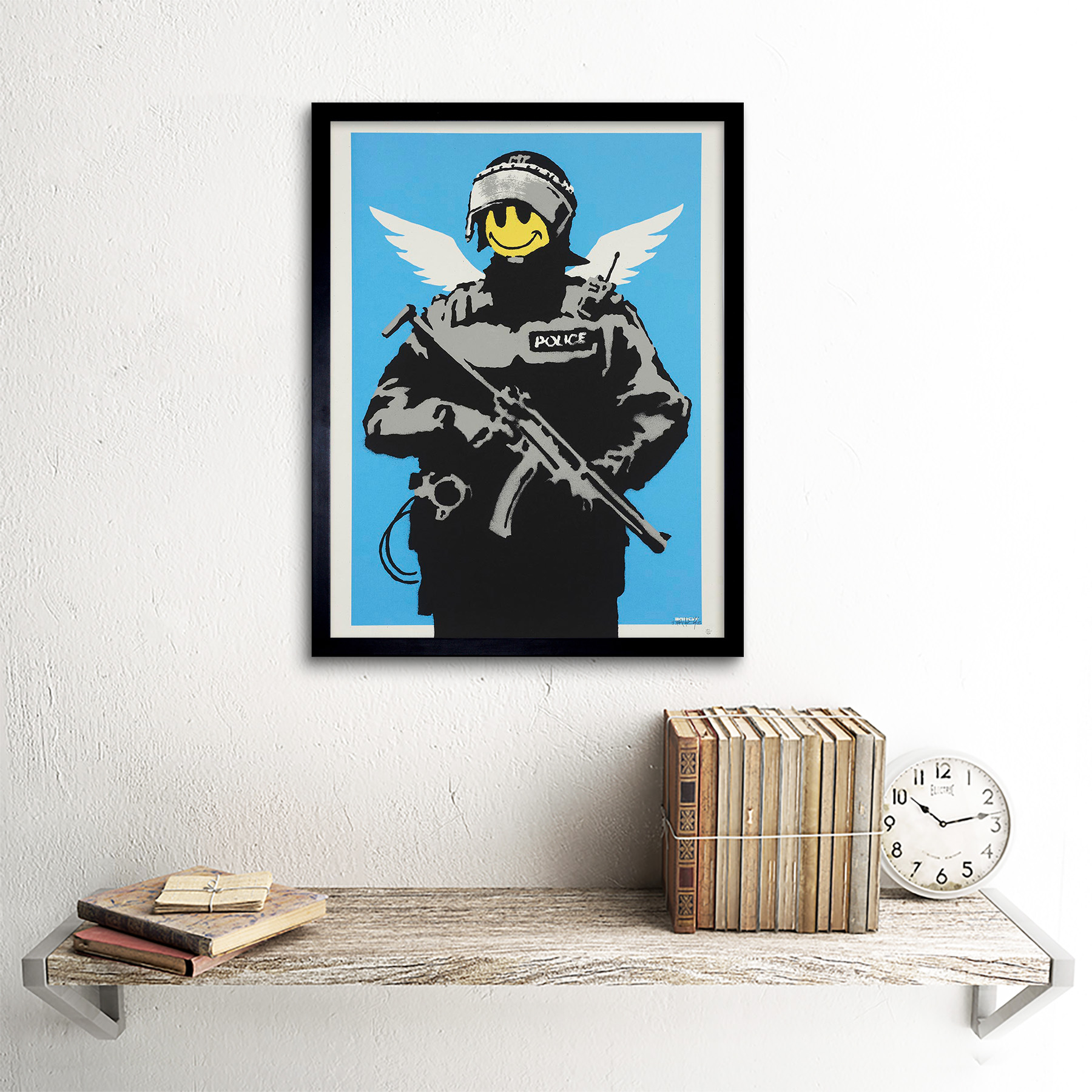 Banksy Happy Angel Policeman Graffiti Street Art Giant Canvas Art Print