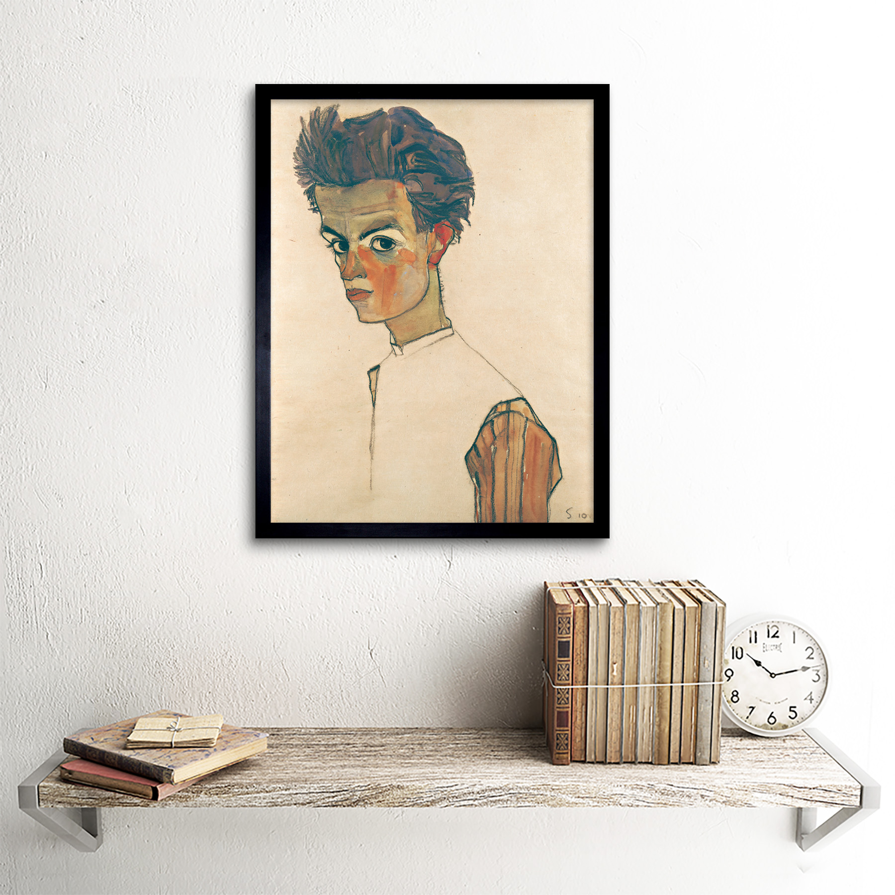 thumbnail 3 - Egon-Schiele-Self-Portrait-With-Striped-Shirt-Art-Print-Framed-12x16