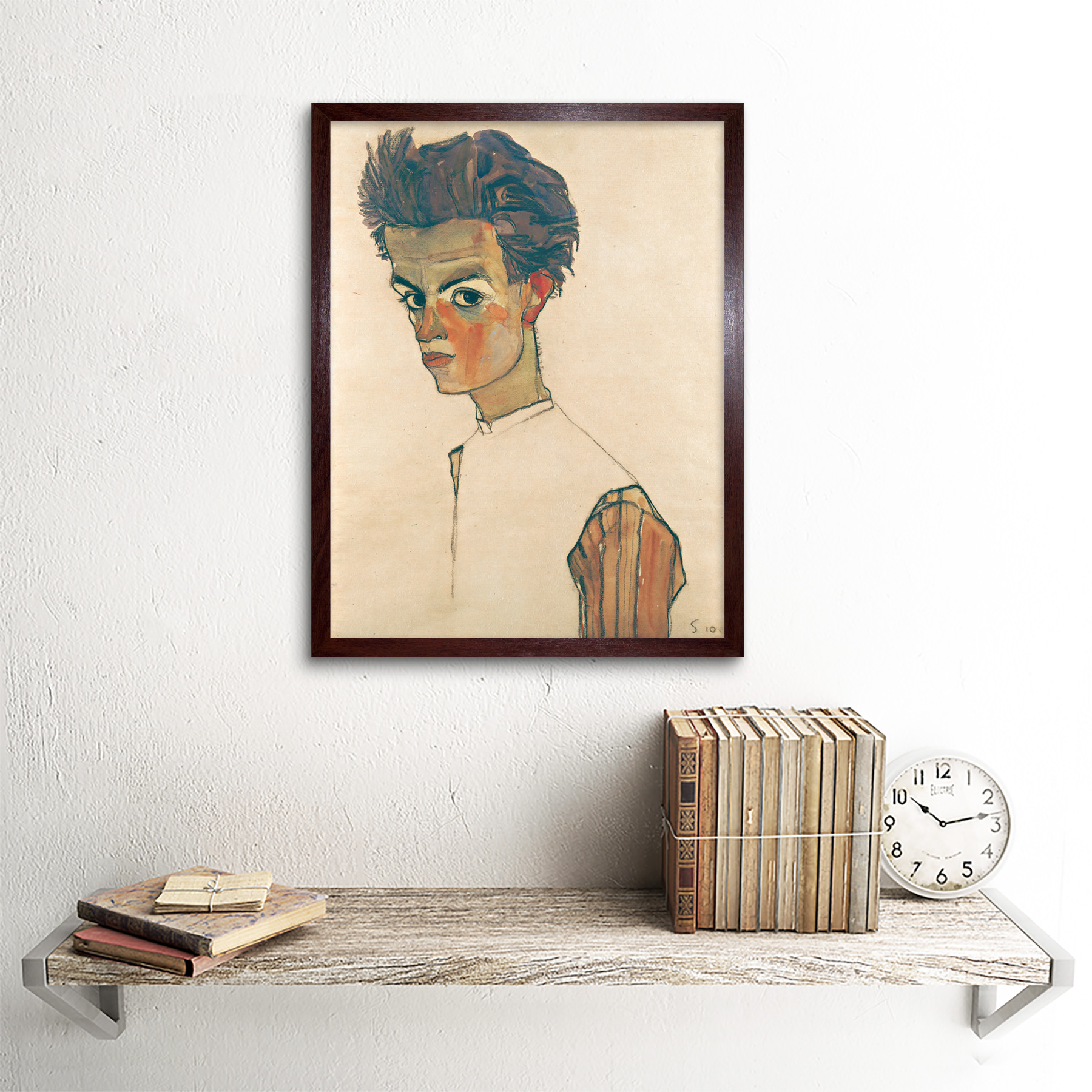 thumbnail 8 - Egon-Schiele-Self-Portrait-With-Striped-Shirt-Art-Print-Framed-12x16