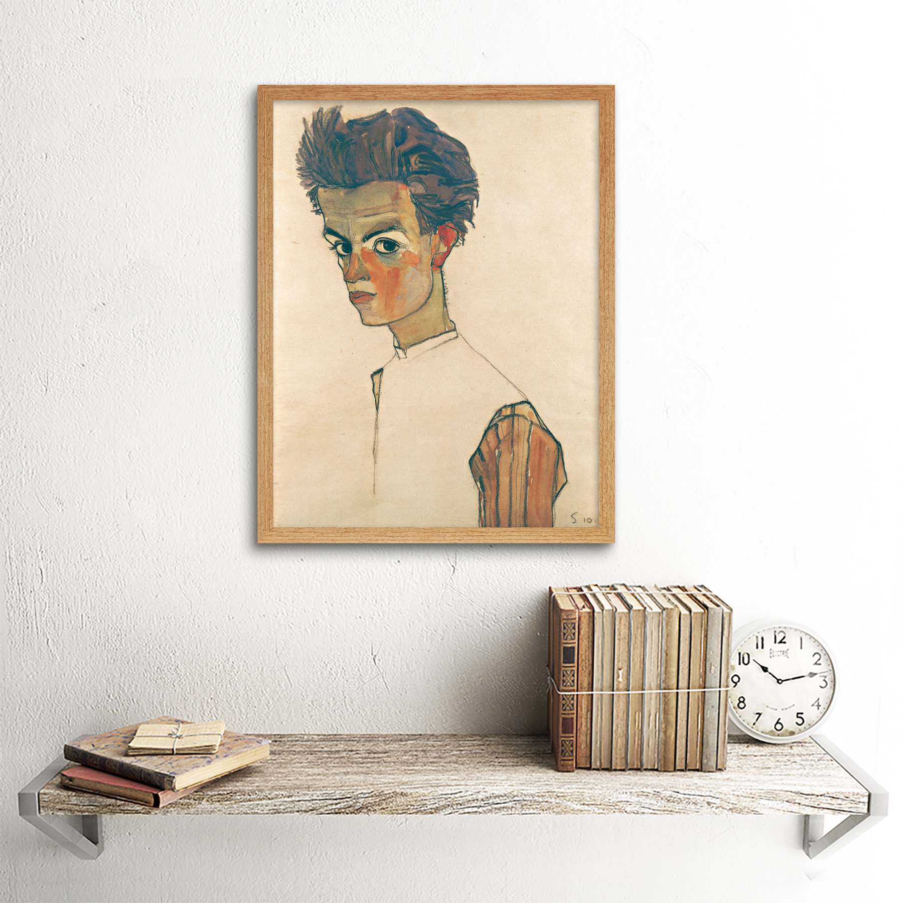thumbnail 13 - Egon-Schiele-Self-Portrait-With-Striped-Shirt-Art-Print-Framed-12x16