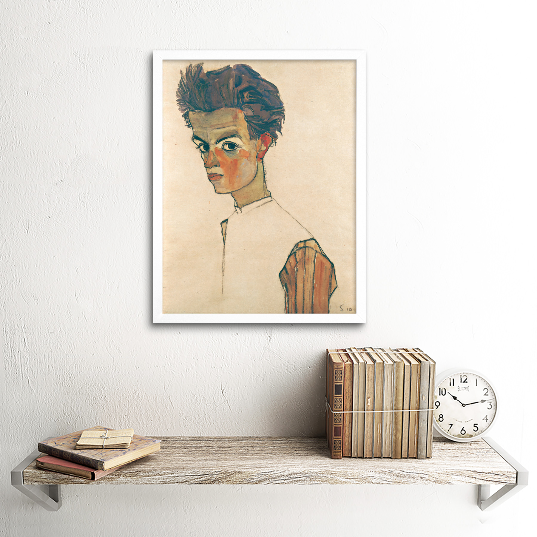 thumbnail 18 - Egon-Schiele-Self-Portrait-With-Striped-Shirt-Art-Print-Framed-12x16
