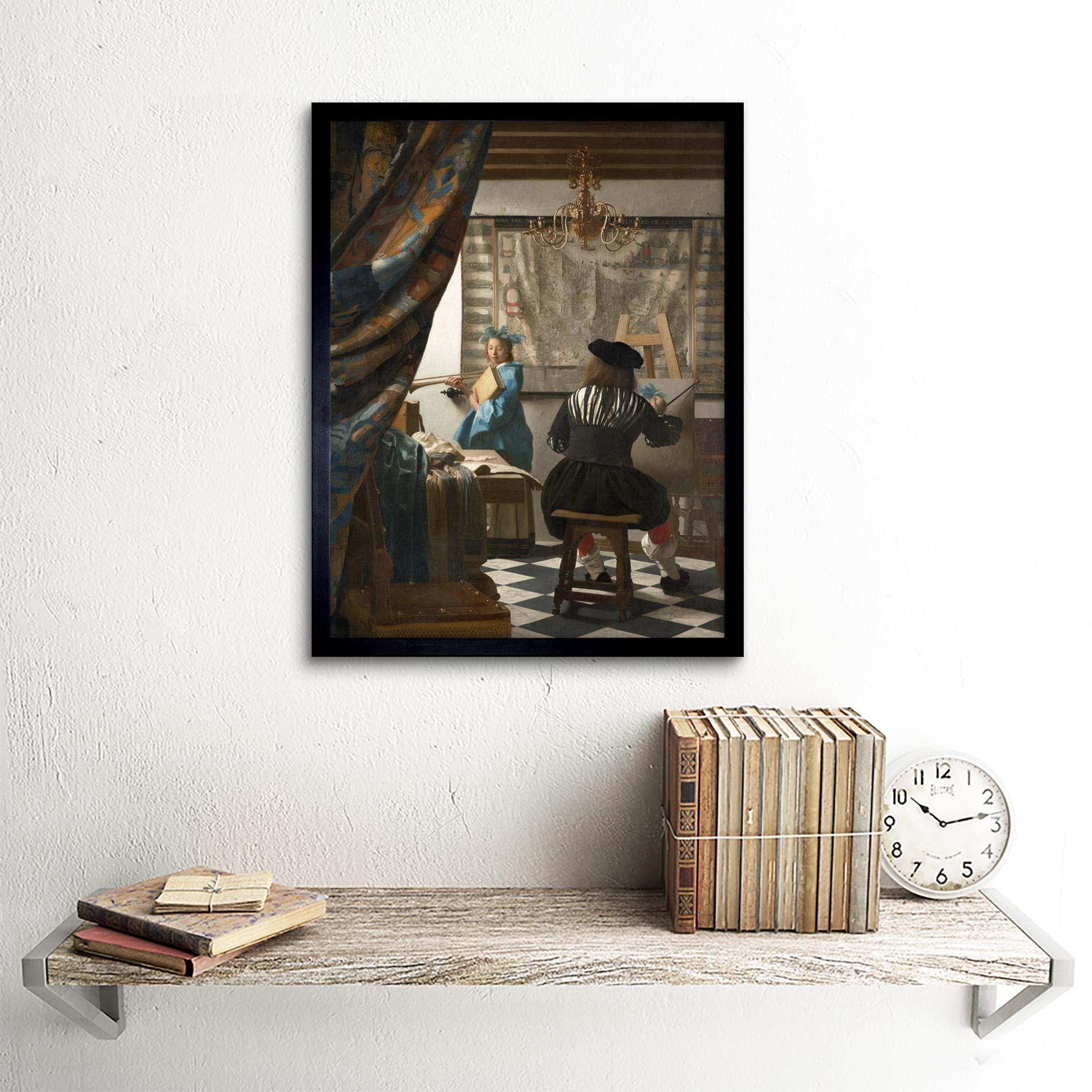 Jan-Vermeer-The-Art-Of-Painting-Art-Print-Framed-12x16 thumbnail 3