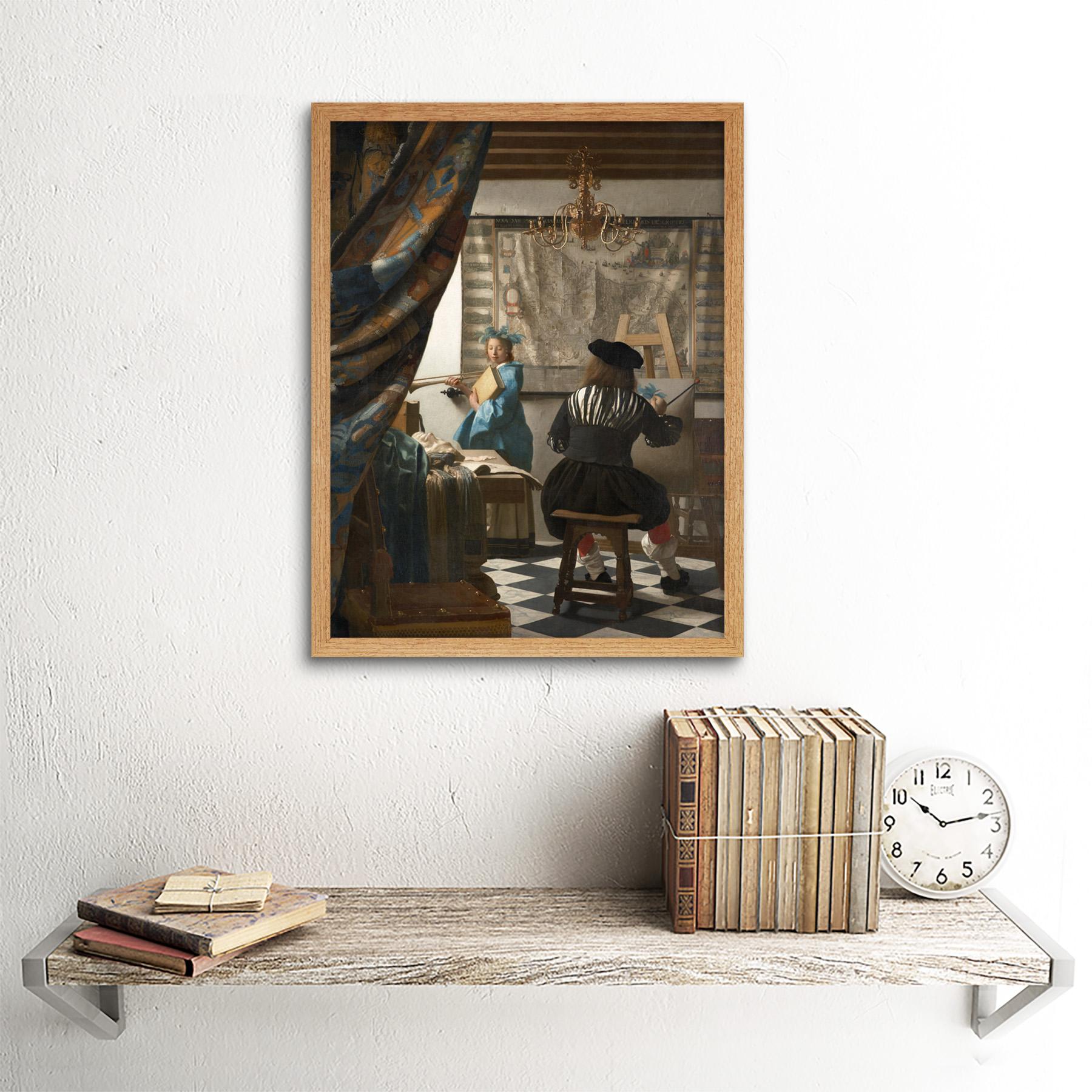 Jan-Vermeer-The-Art-Of-Painting-Art-Print-Framed-12x16 thumbnail 13