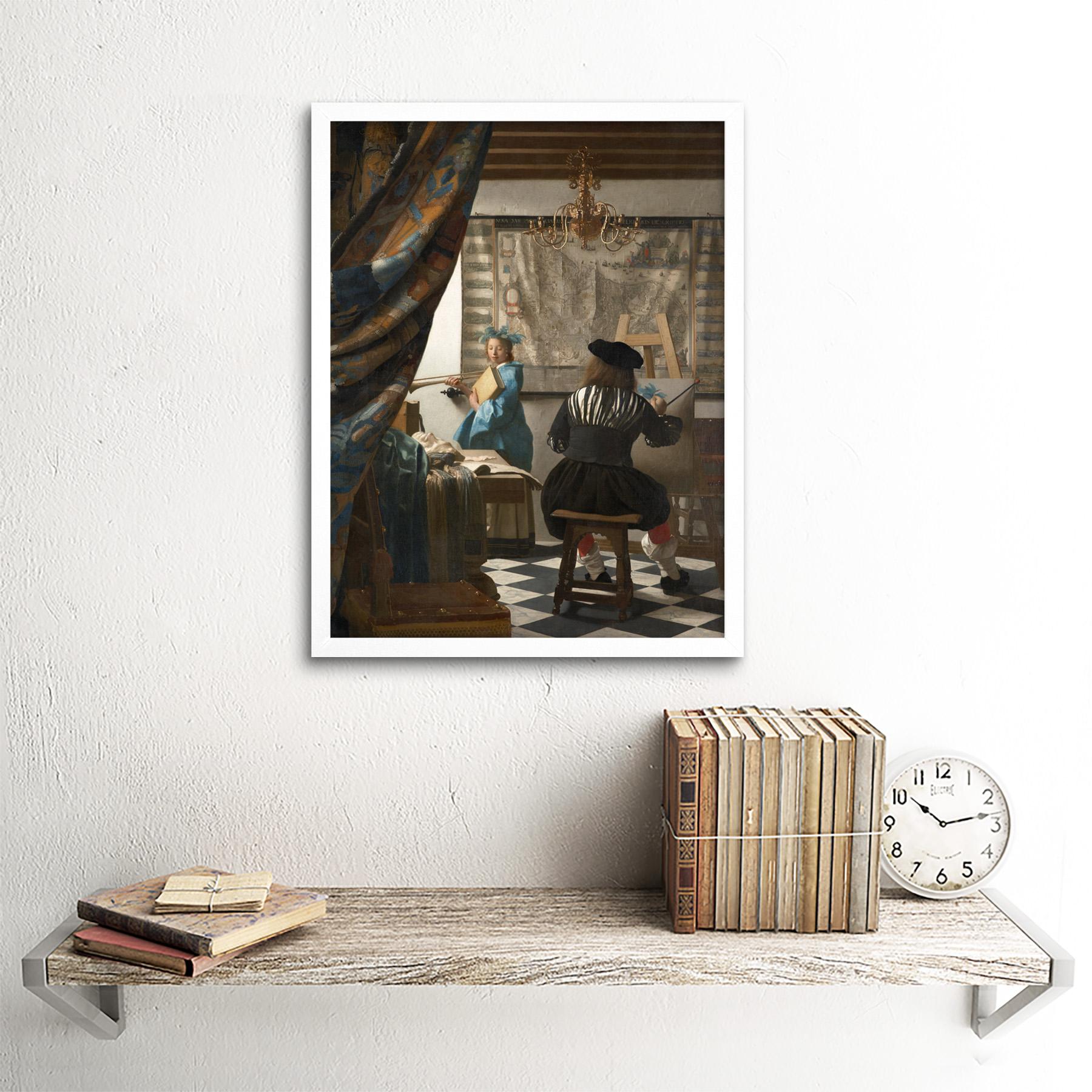 Jan-Vermeer-The-Art-Of-Painting-Art-Print-Framed-12x16 thumbnail 18