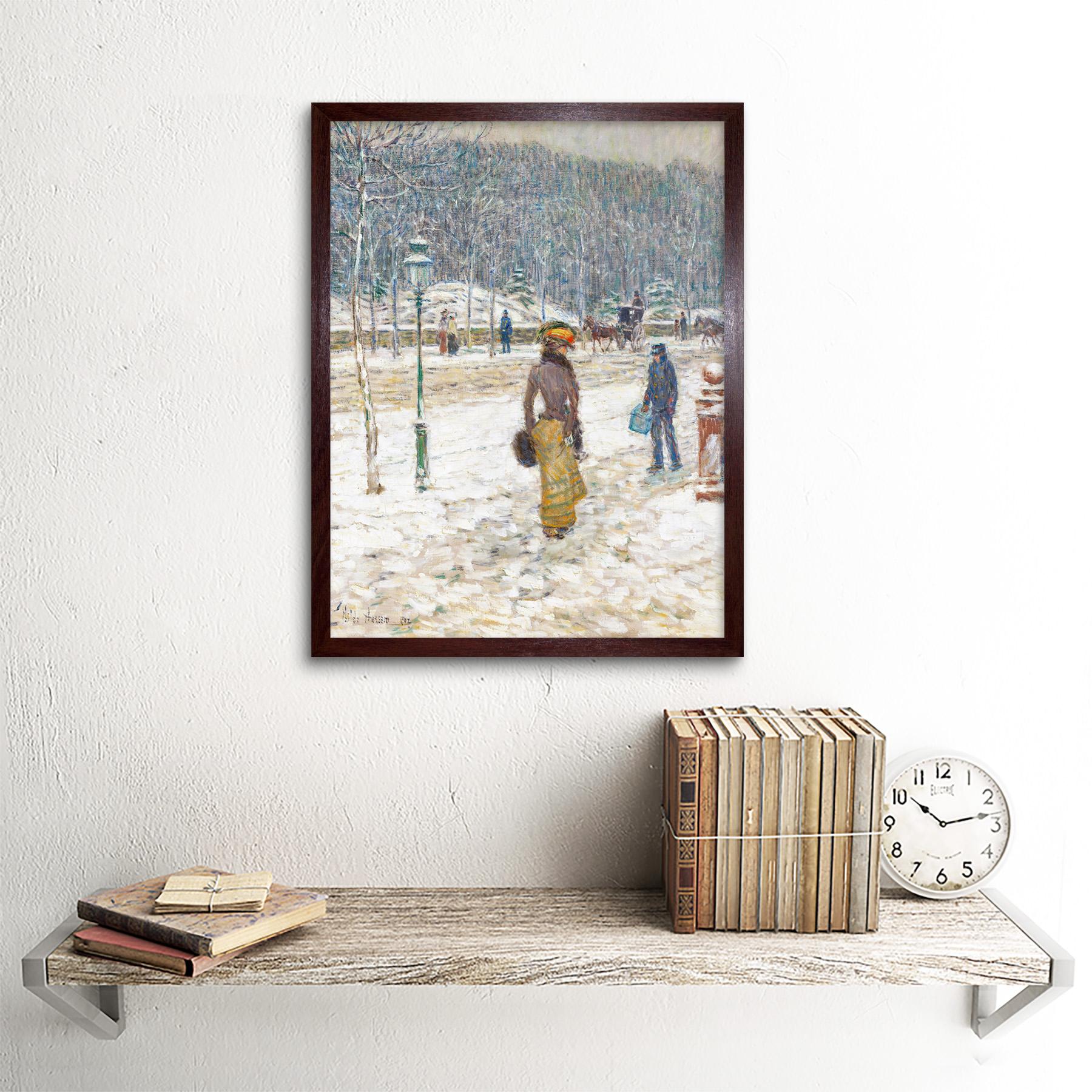 Hassam-New-York-Street-Snow-Winter-Impressionist-Painting-Art-Print-Framed-12x16 thumbnail 8