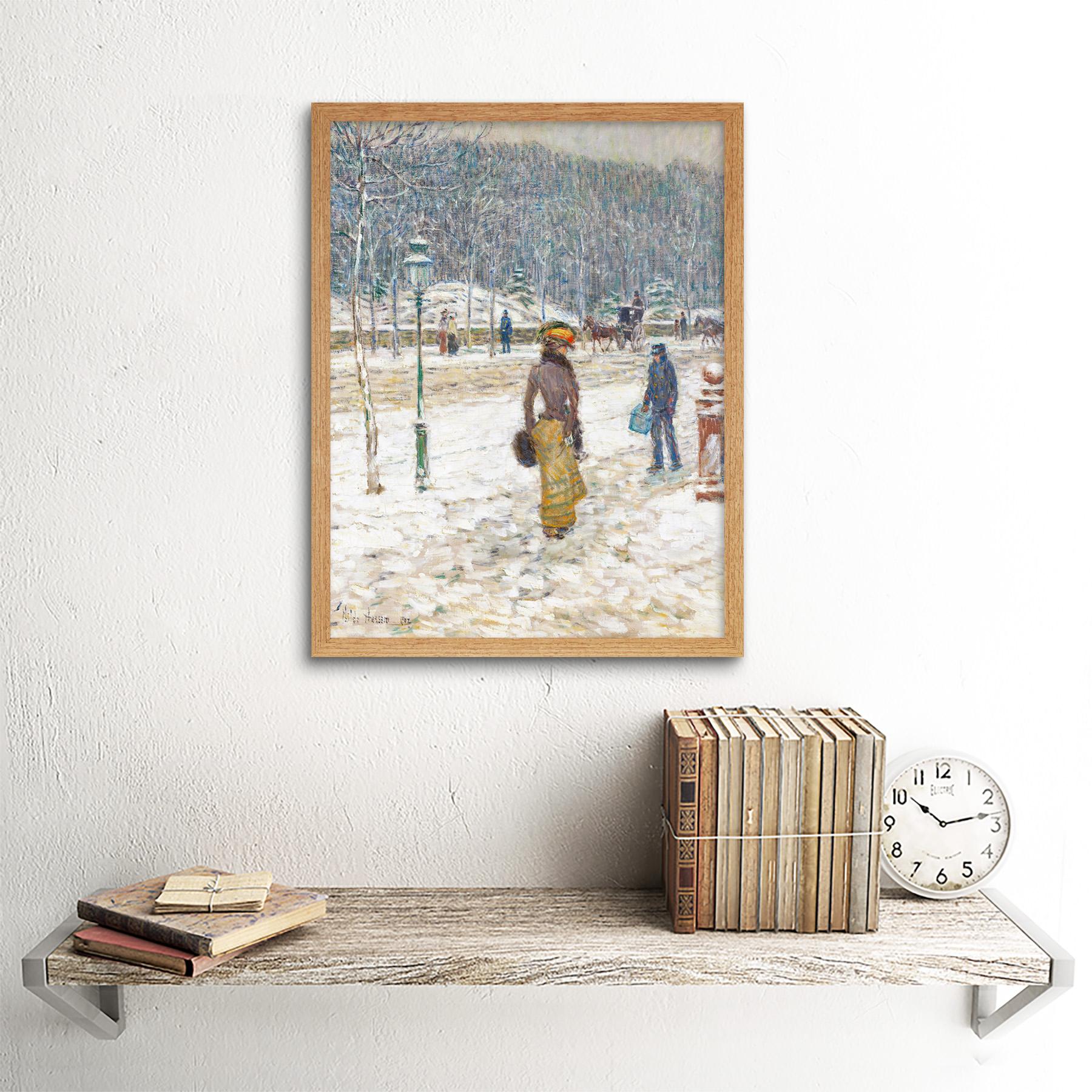 Hassam-New-York-Street-Snow-Winter-Impressionist-Painting-Art-Print-Framed-12x16 thumbnail 13