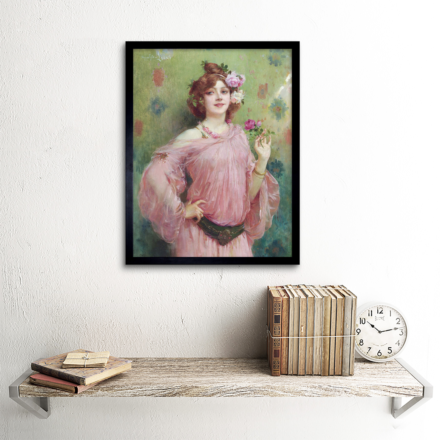 Hippolyte-Lucas-Beauty-In-Pink-Woman-Flowers-Painting-Art-Print-Framed-12x16 thumbnail 3