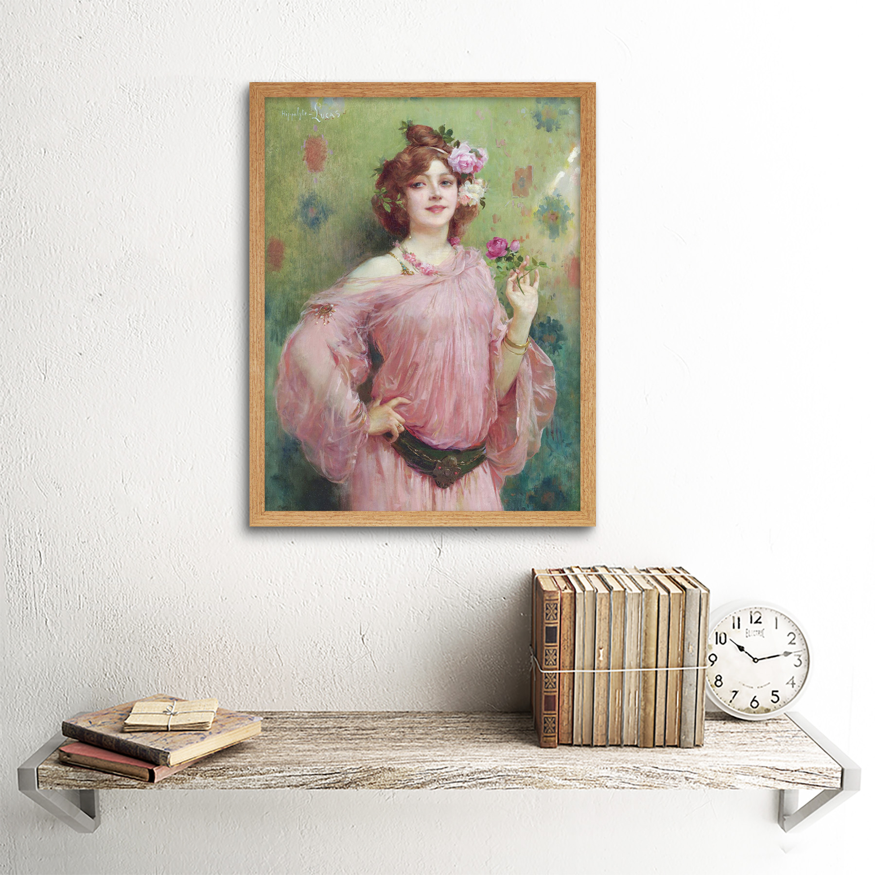 Hippolyte-Lucas-Beauty-In-Pink-Woman-Flowers-Painting-Art-Print-Framed-12x16 thumbnail 13