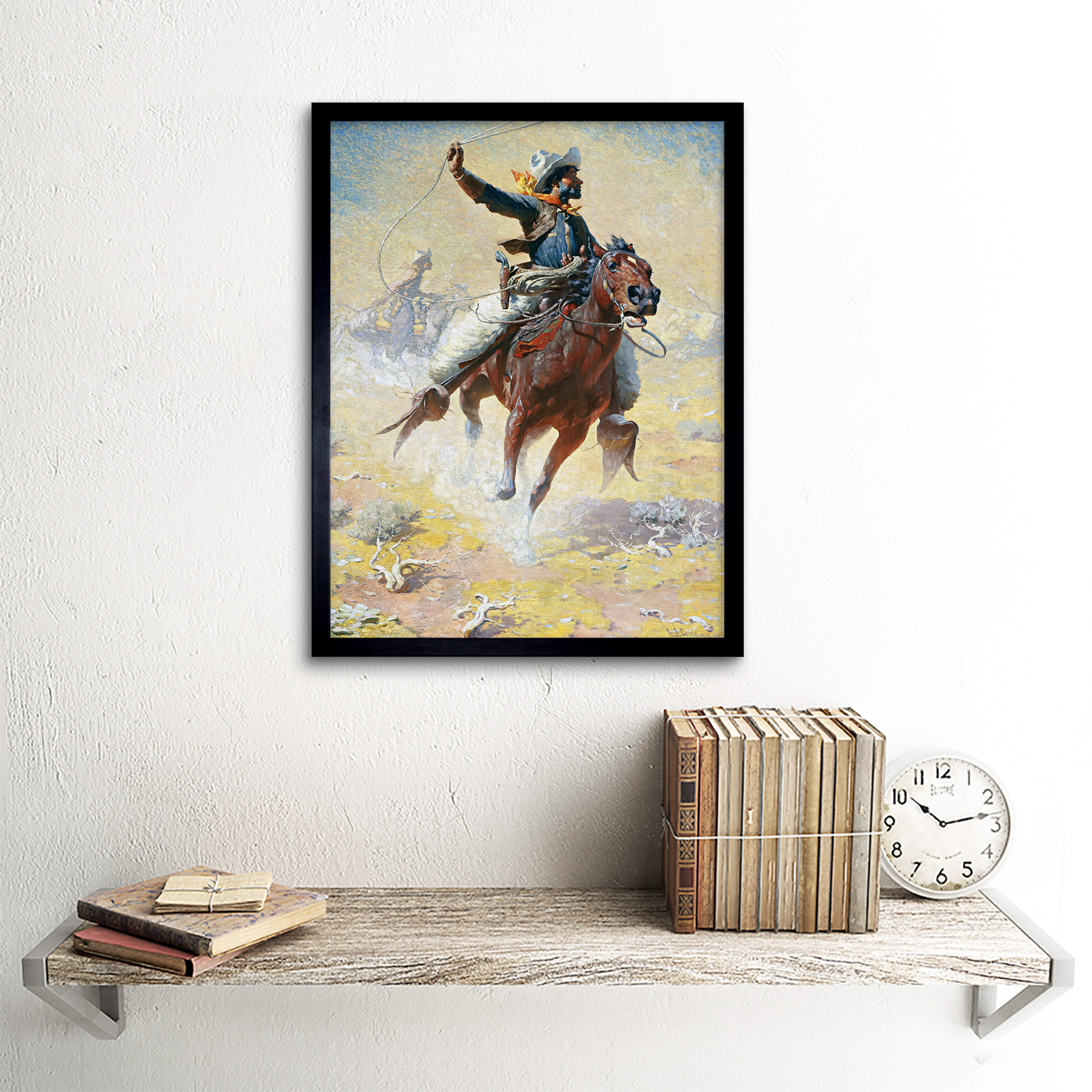 Leigh-The-Roping-Cowboy-Lasso-Horse-Painting-Art-Print-Framed-12x16 thumbnail 3
