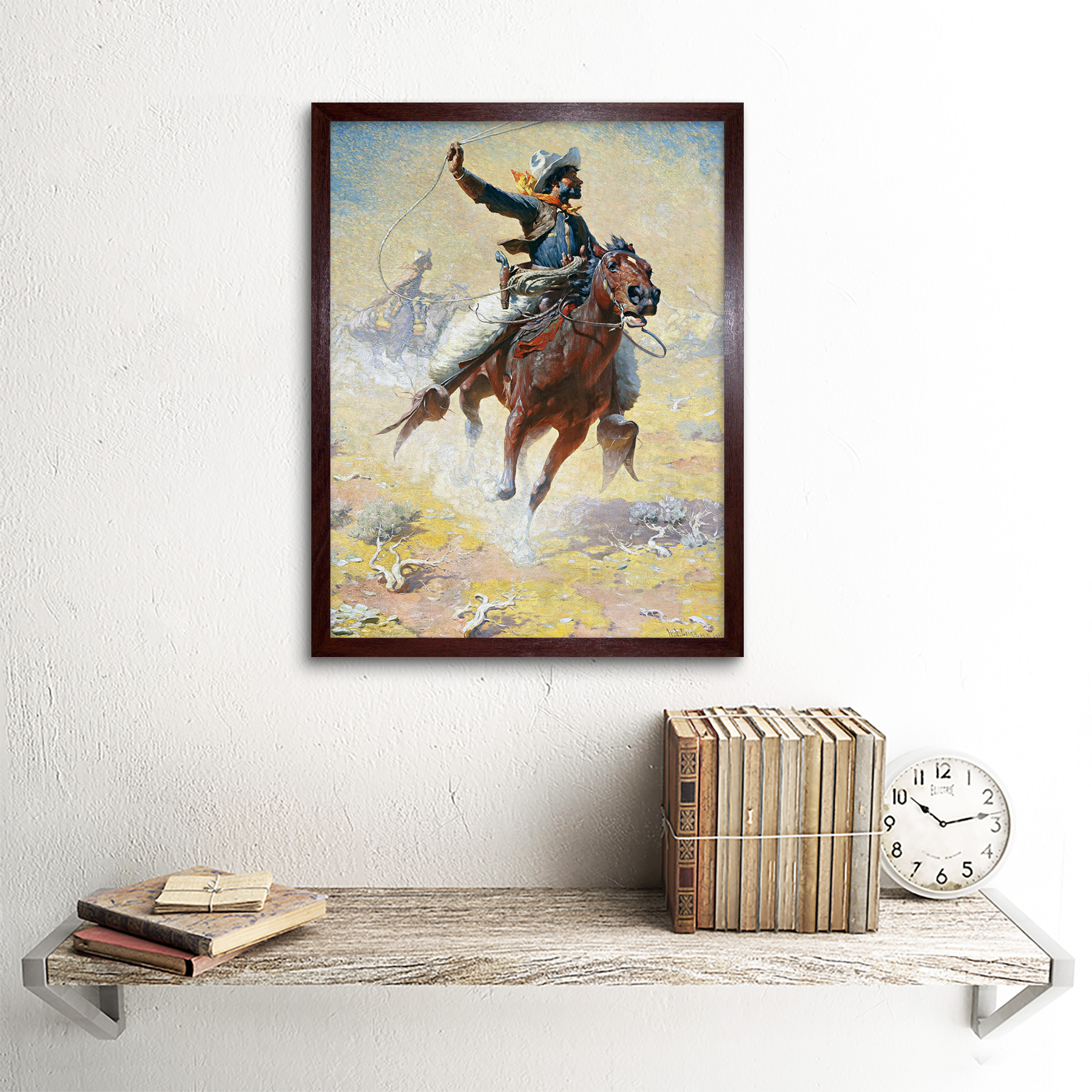 Leigh-The-Roping-Cowboy-Lasso-Horse-Painting-Art-Print-Framed-12x16 thumbnail 8