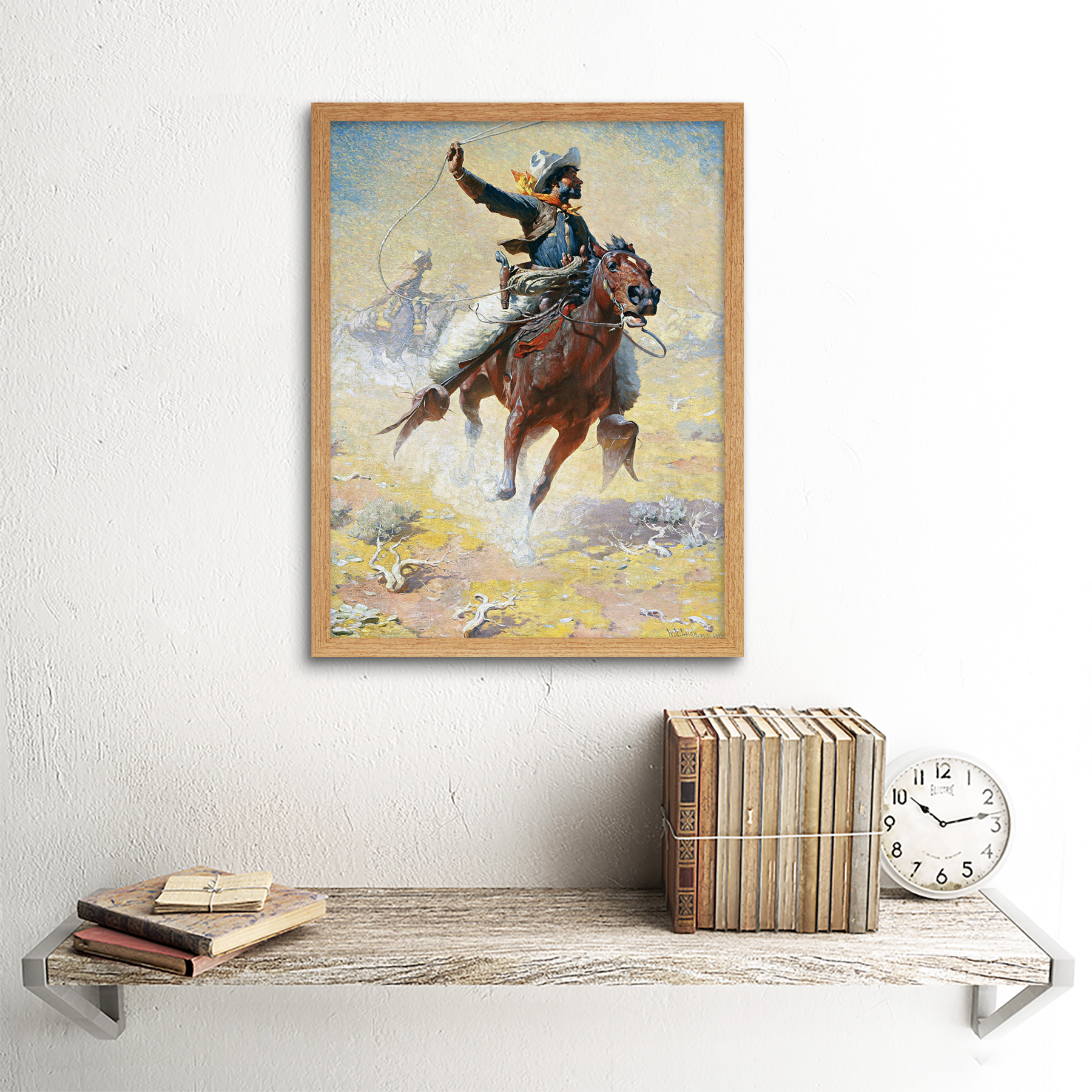 Leigh-The-Roping-Cowboy-Lasso-Horse-Painting-Art-Print-Framed-12x16 thumbnail 13