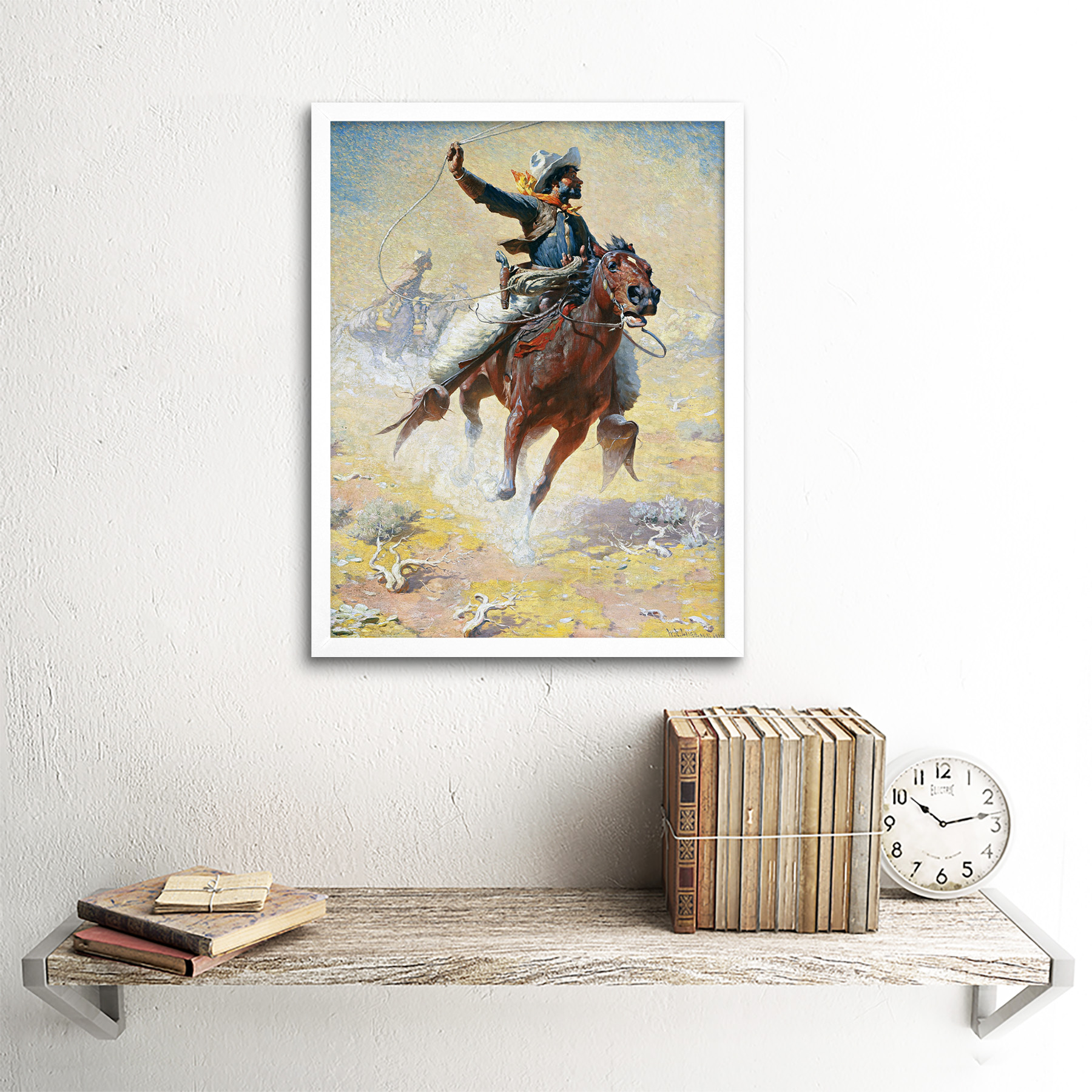 Leigh-The-Roping-Cowboy-Lasso-Horse-Painting-Art-Print-Framed-12x16 thumbnail 18