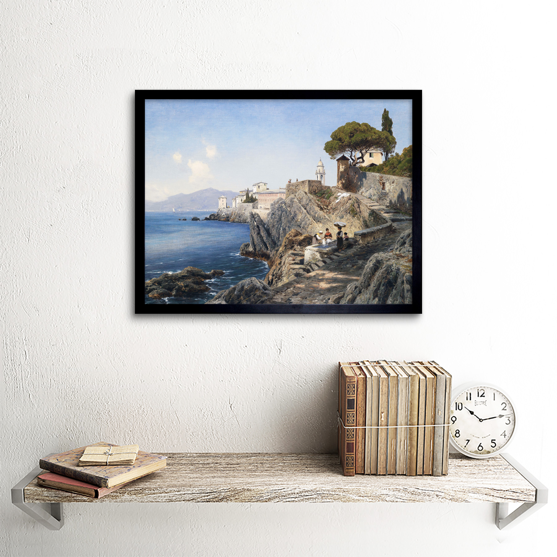 Lutteroth-Sturla-Shore-Genoa-Italy-Seascape-Painting-Art-Print-Framed-12x16 thumbnail 3