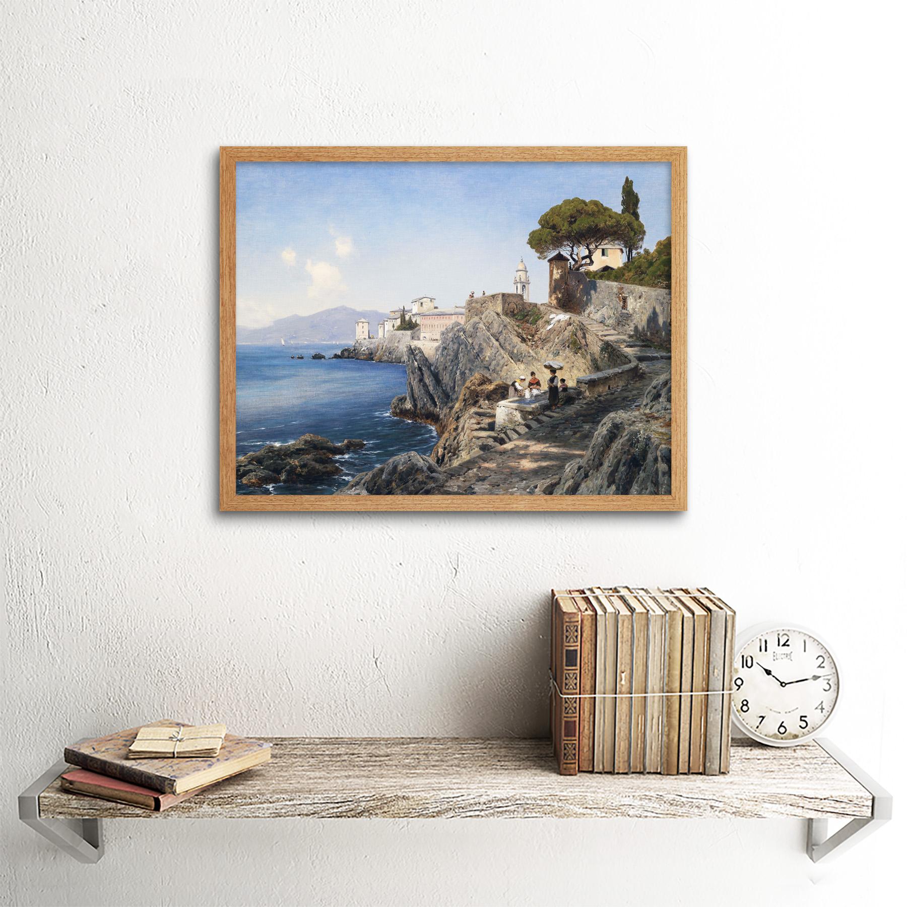 Lutteroth-Sturla-Shore-Genoa-Italy-Seascape-Painting-Art-Print-Framed-12x16 thumbnail 13