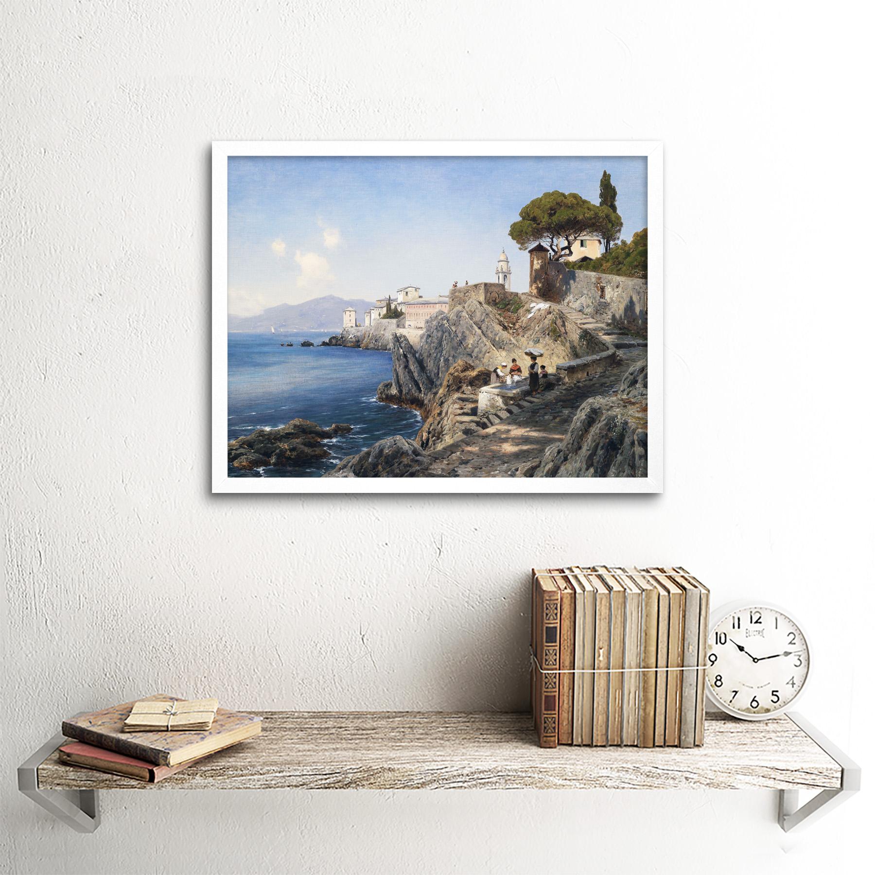 Lutteroth-Sturla-Shore-Genoa-Italy-Seascape-Painting-Art-Print-Framed-12x16 thumbnail 18
