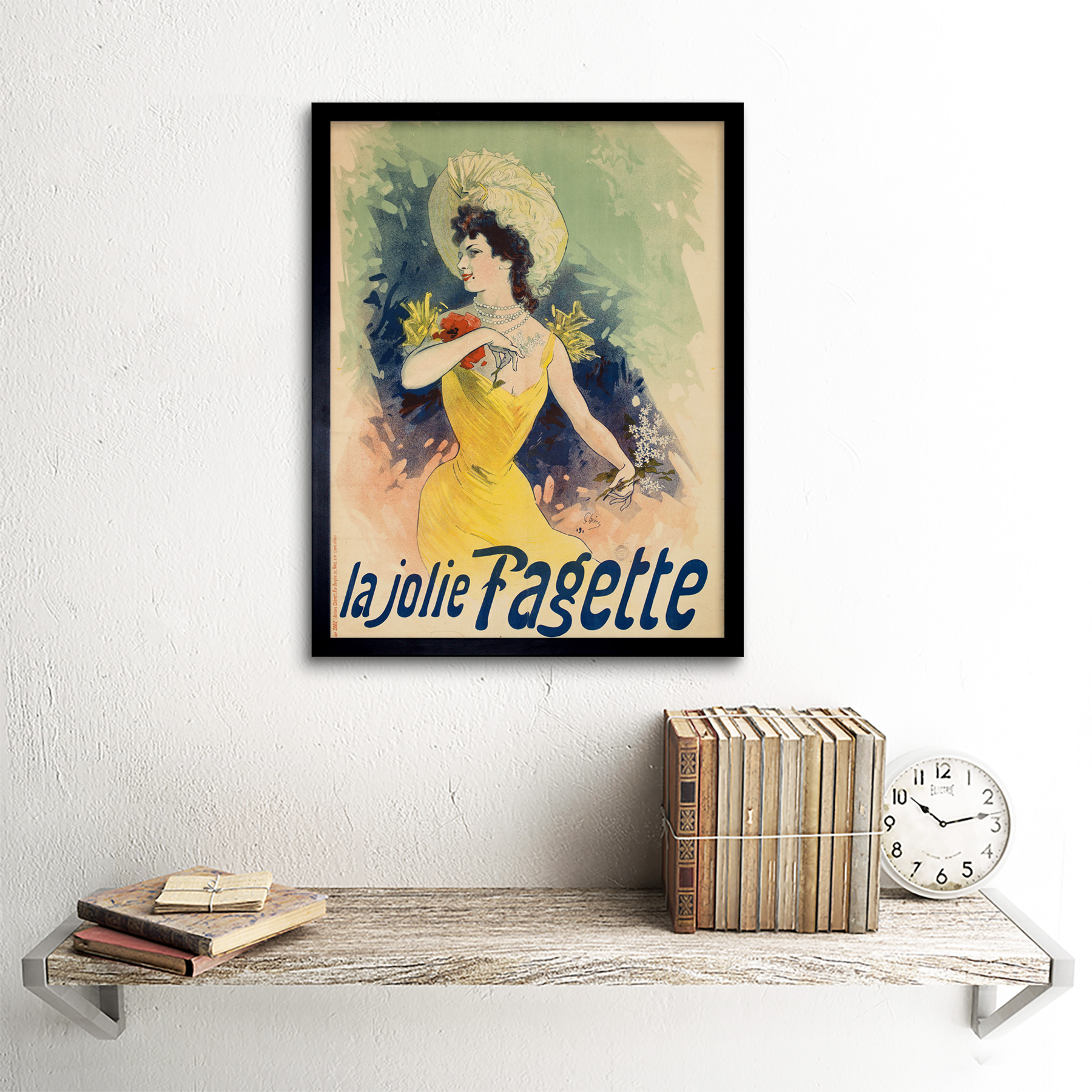 Cheret-Singer-Pretty-Fagette-Nouveau-Advert-Framed-Wall-Art-Poster thumbnail 3