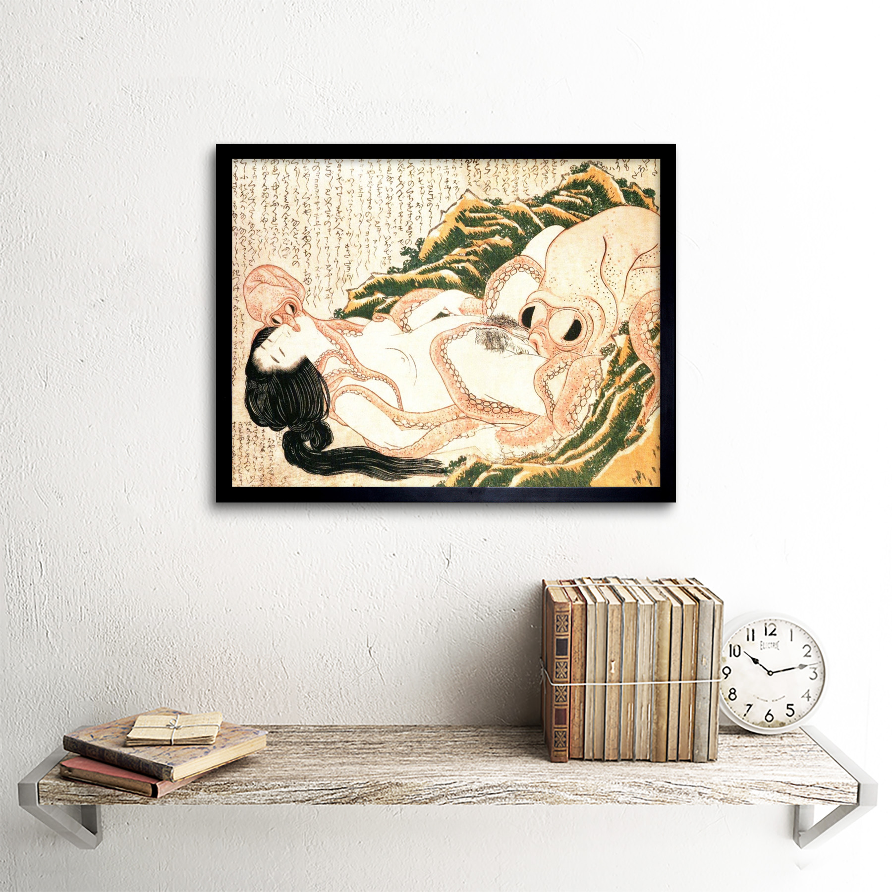 thumbnail 3 - Hokusai-Octopus-Fishermans-Wife-Dreams-Adult-Japanese-Art-Print-Framed-12x16