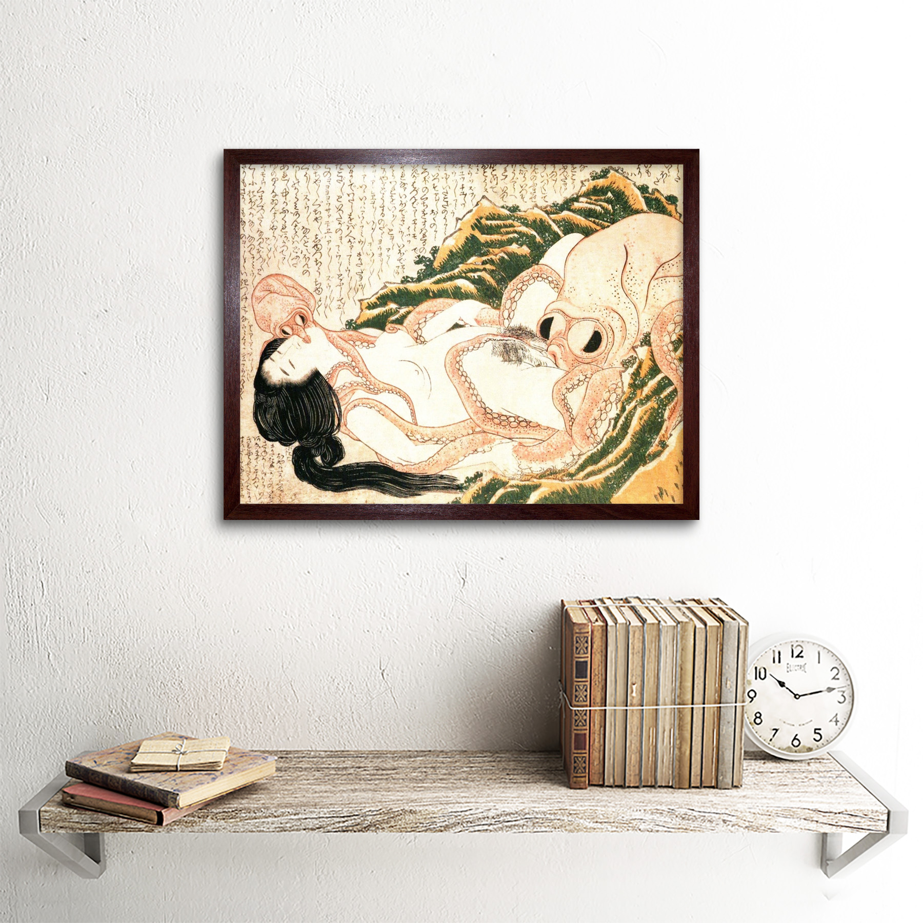 thumbnail 8 - Hokusai-Octopus-Fishermans-Wife-Dreams-Adult-Japanese-Art-Print-Framed-12x16