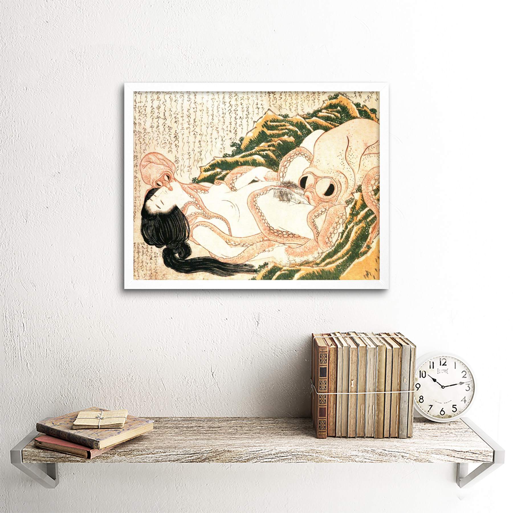 thumbnail 18 - Hokusai-Octopus-Fishermans-Wife-Dreams-Adult-Japanese-Art-Print-Framed-12x16