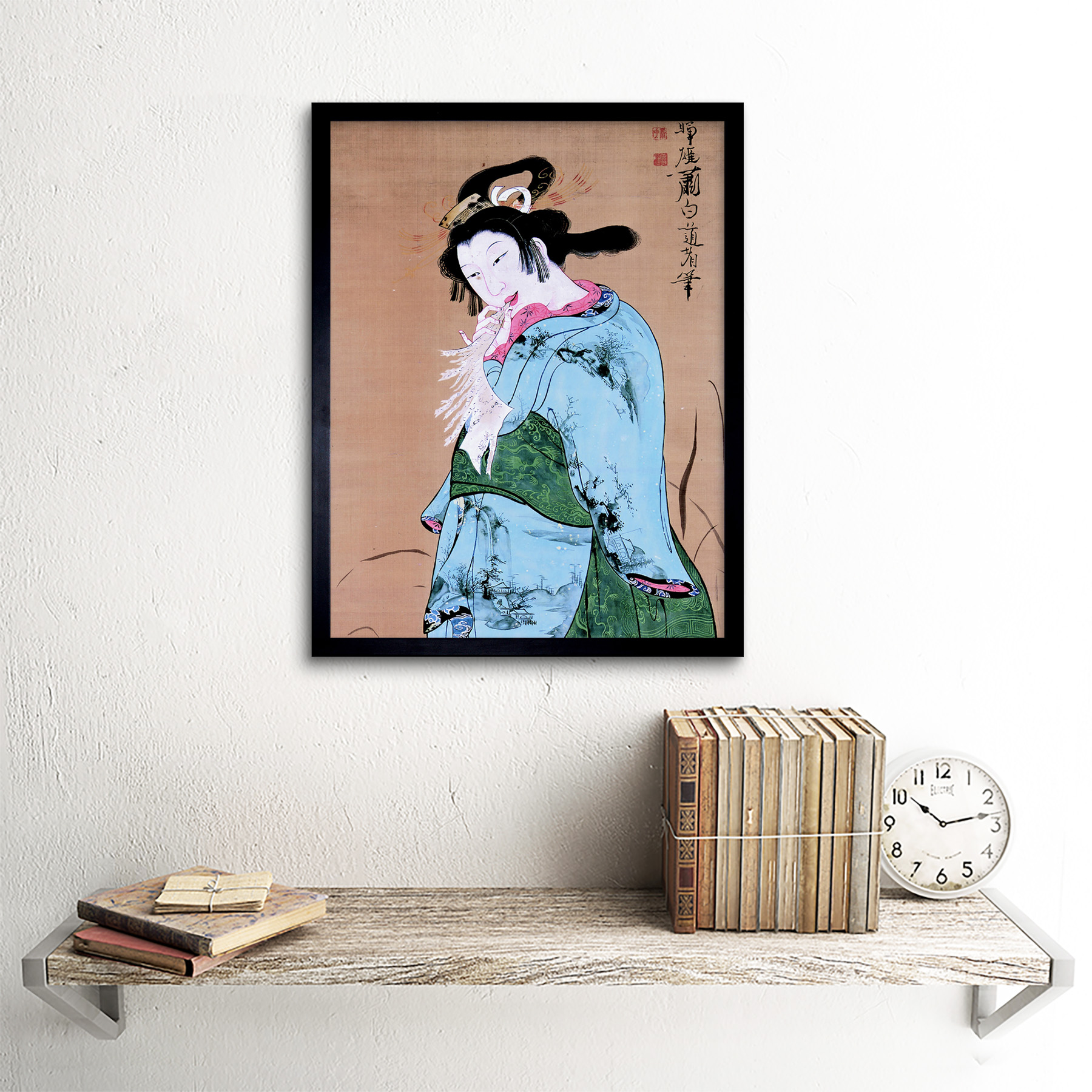Shohaku Japanese Beauty Woman Painting Wall Art Print Framed 12x16