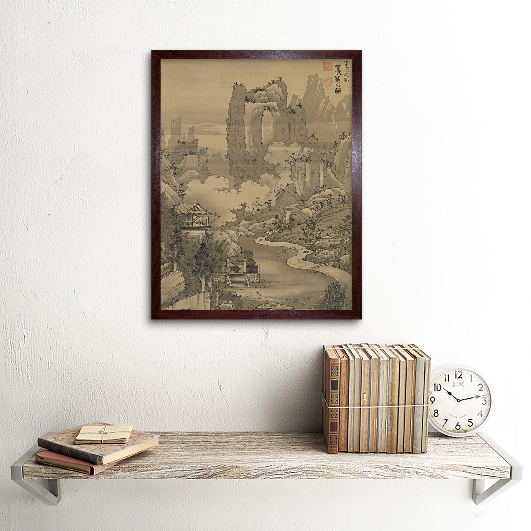Shohaku-Orchid-Pavilion-Gathering-Screen-Painting-Wall-Art-Print-Framed-12x16 thumbnail 8