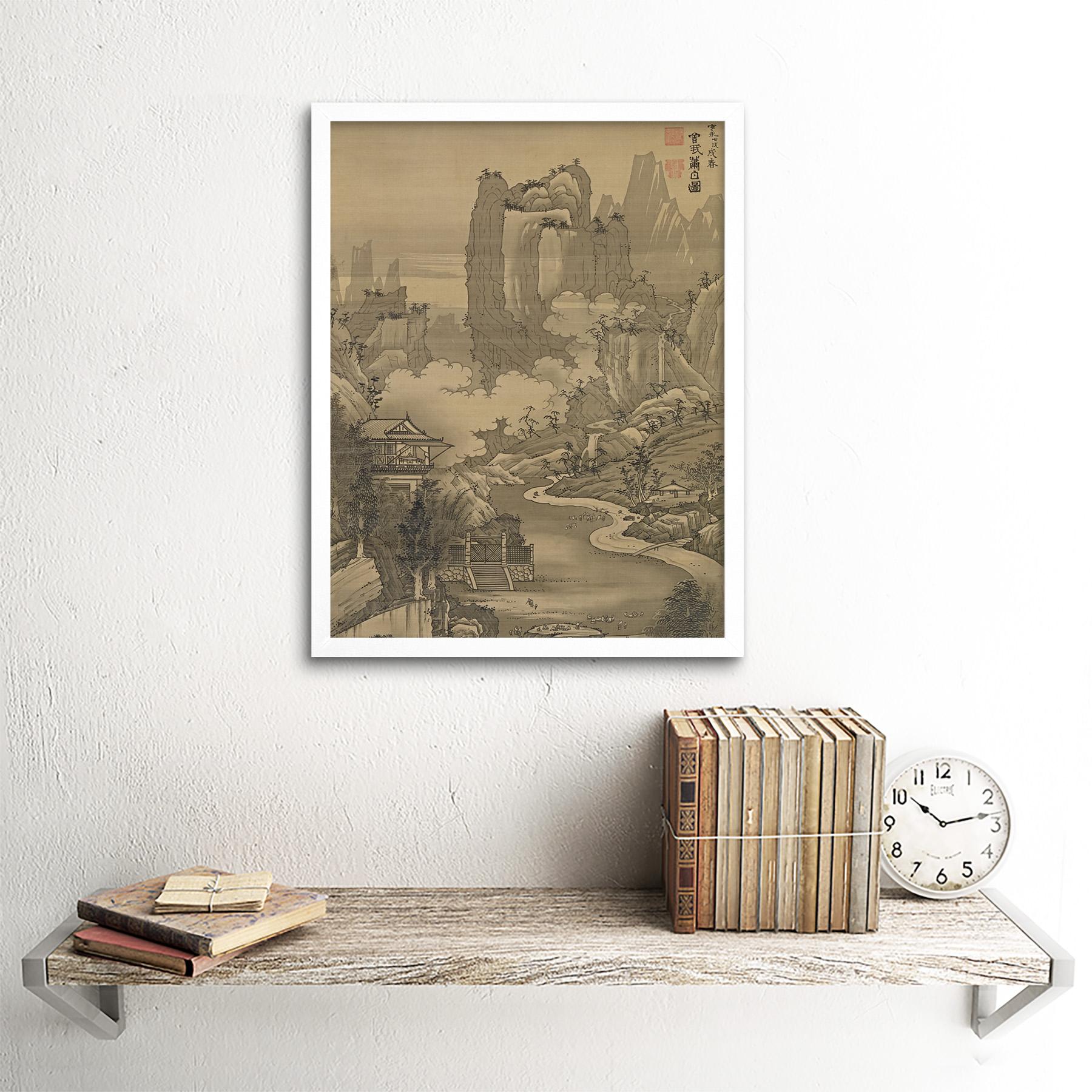 Shohaku-Orchid-Pavilion-Gathering-Screen-Painting-Wall-Art-Print-Framed-12x16 thumbnail 18