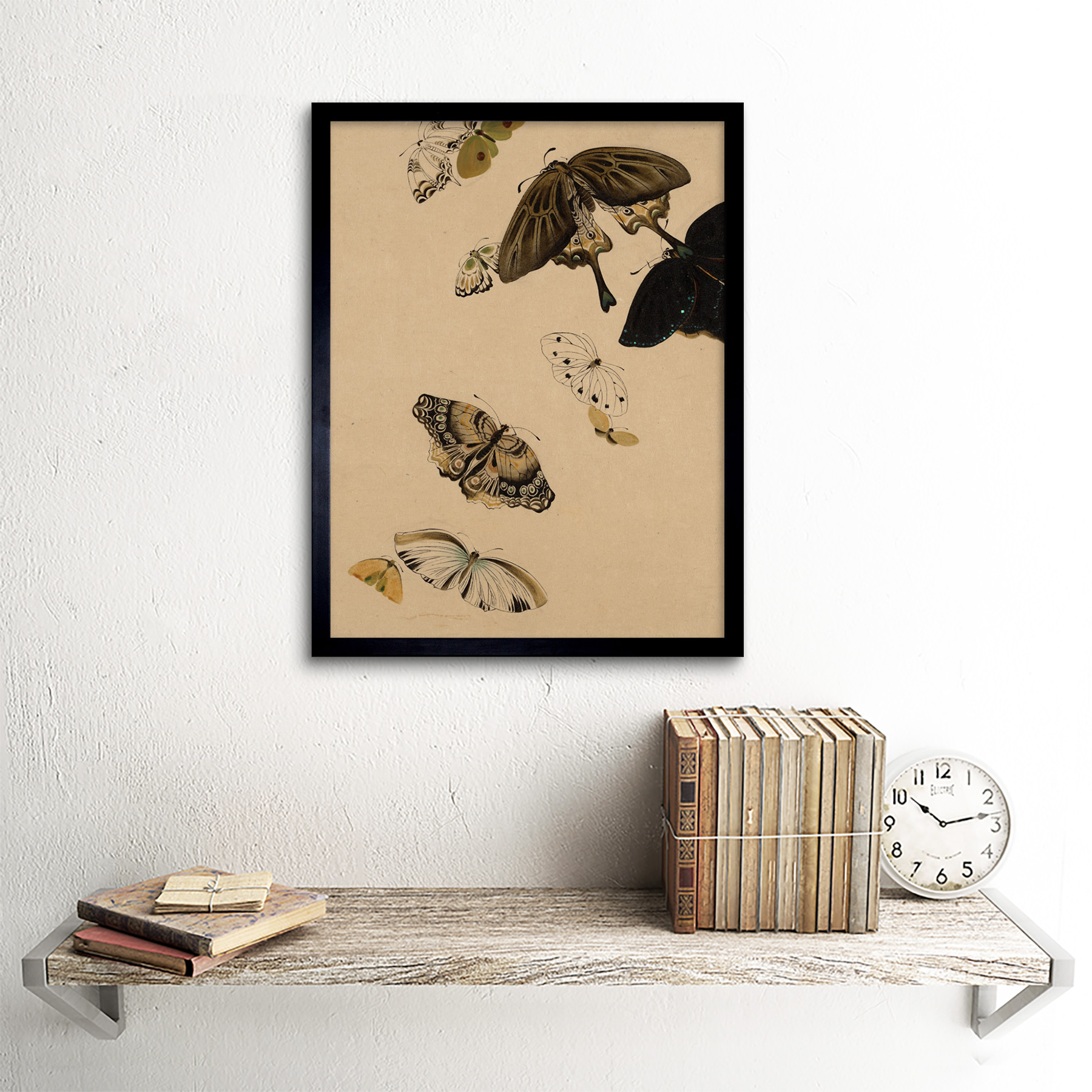 Zeshin-Butterflies-Japanese-Laquer-Painting-Wall-Art-Print-Framed-12x16 thumbnail 3