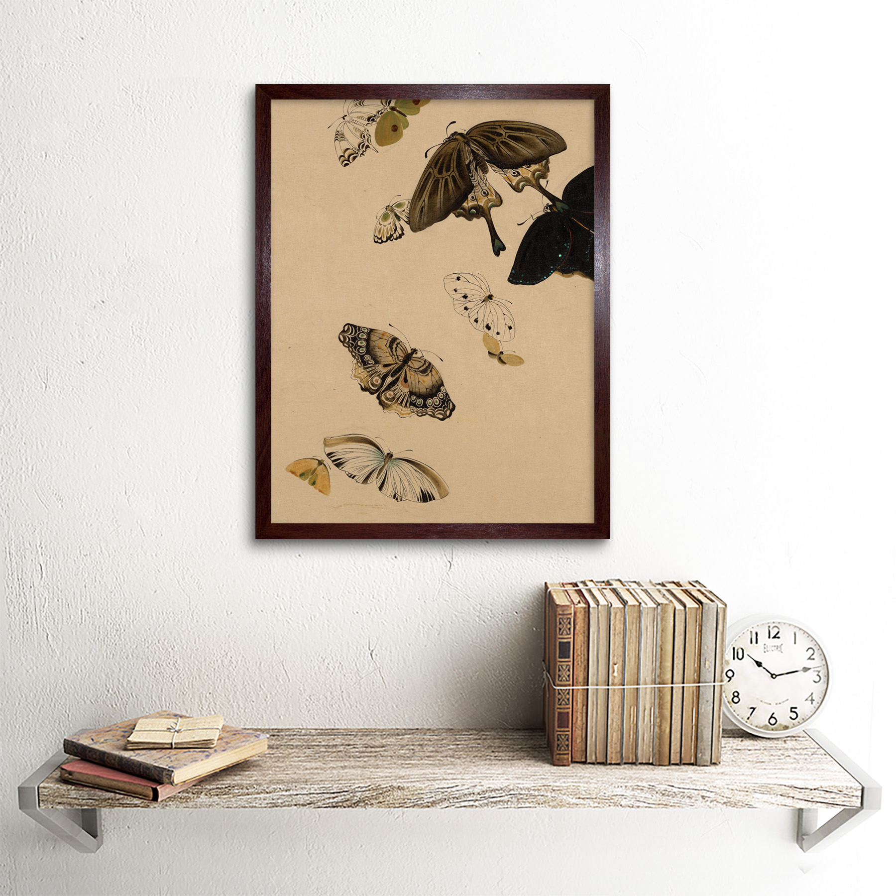 Zeshin-Butterflies-Japanese-Laquer-Painting-Wall-Art-Print-Framed-12x16 thumbnail 8