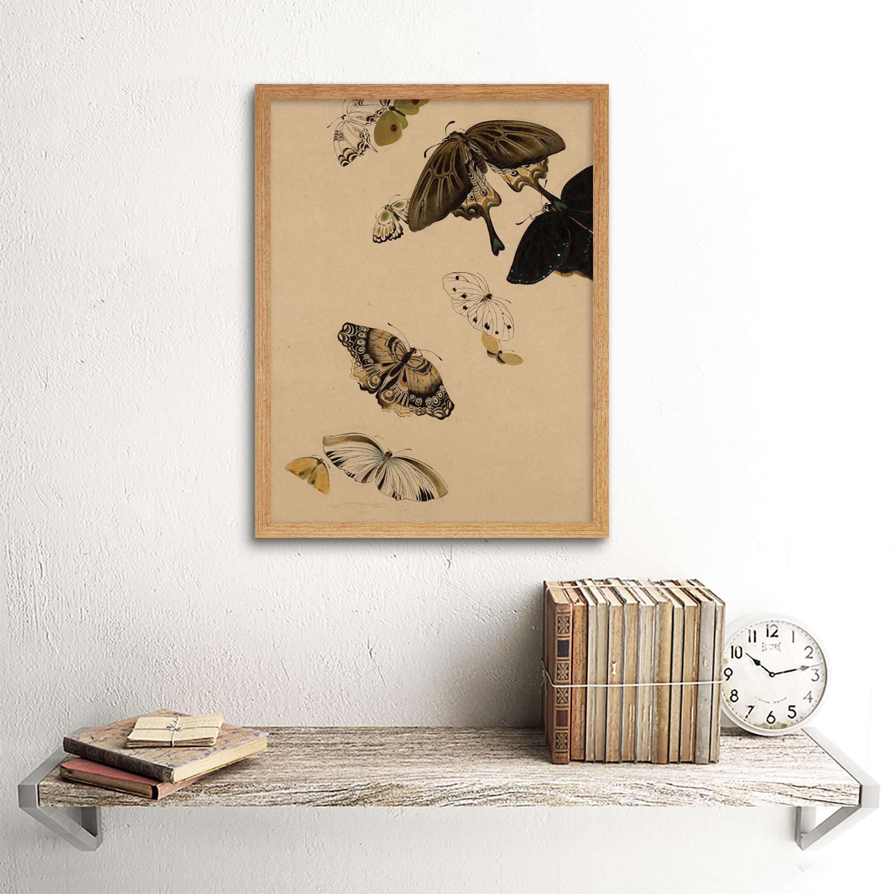 Zeshin-Butterflies-Japanese-Laquer-Painting-Wall-Art-Print-Framed-12x16 thumbnail 13