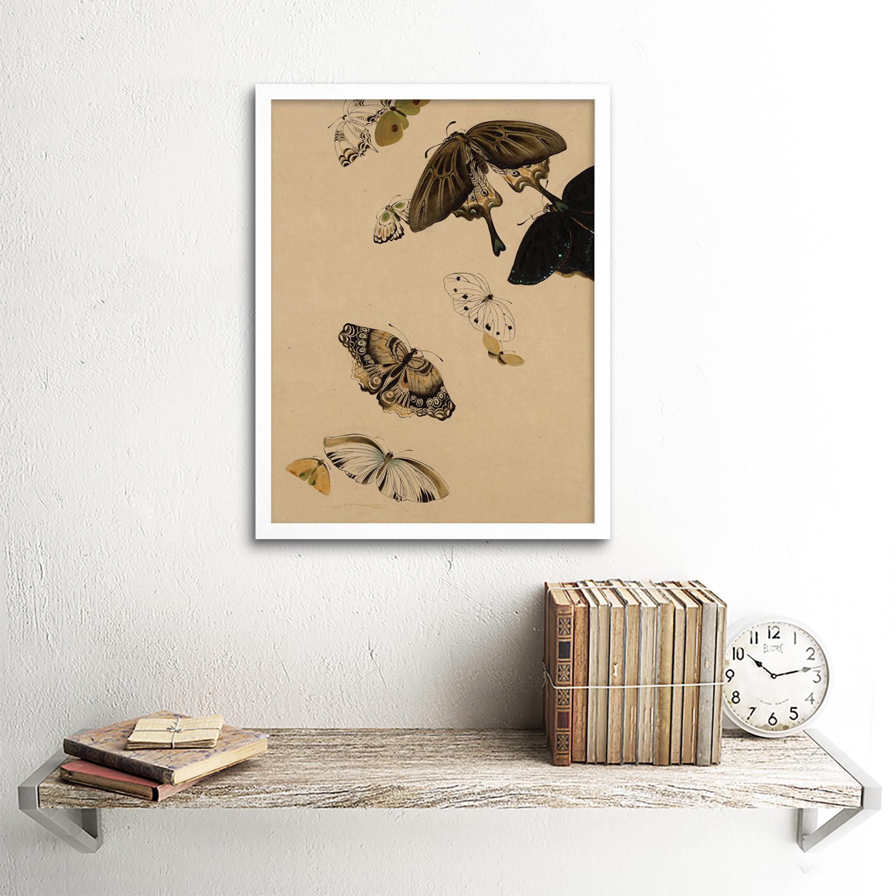 Zeshin-Butterflies-Japanese-Laquer-Painting-Wall-Art-Print-Framed-12x16 thumbnail 18