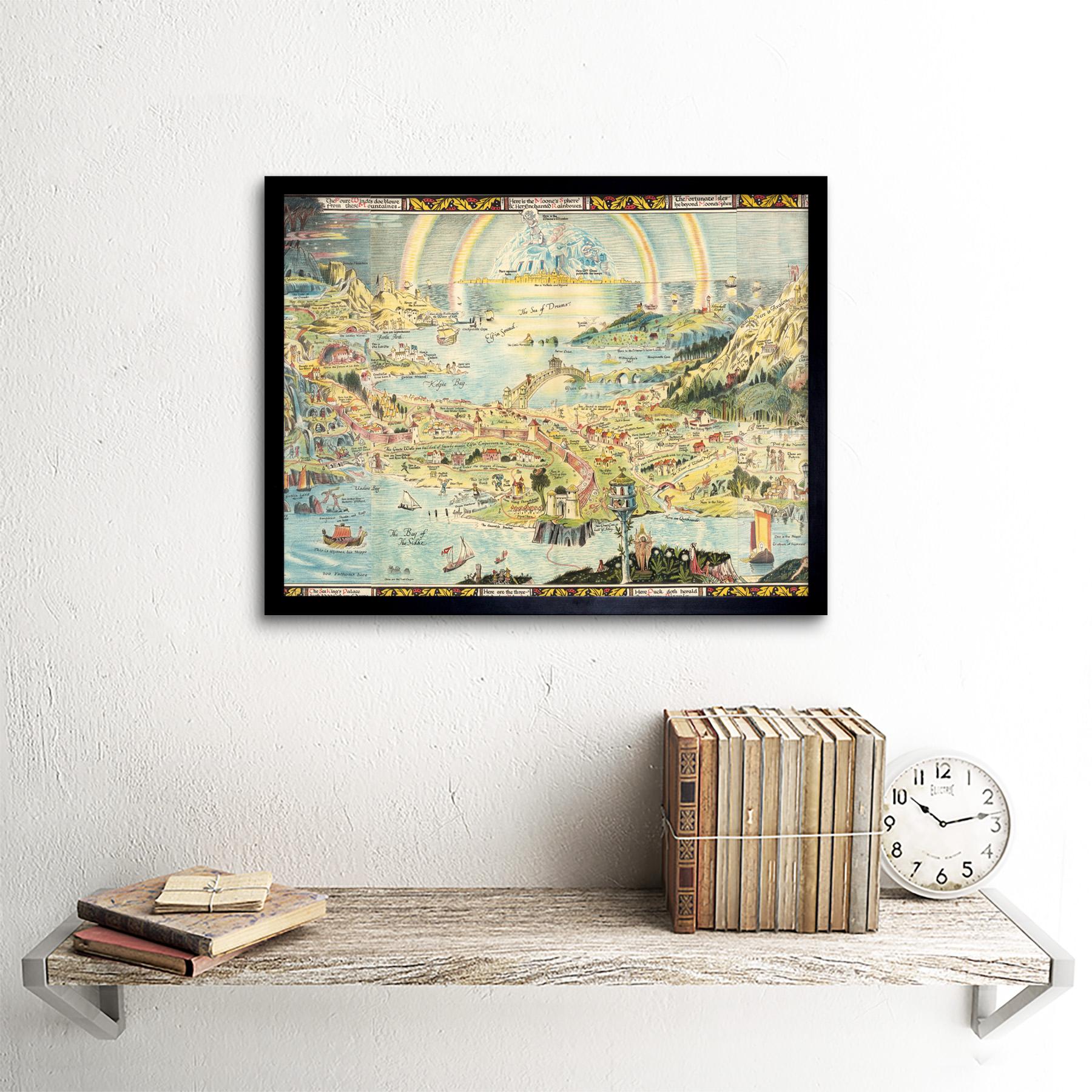 thumbnail 3 - Map-Sleigh-1918-Ancient-Fairyland-Fantasy-Chart-Wall-Art-Print-Framed-12x16