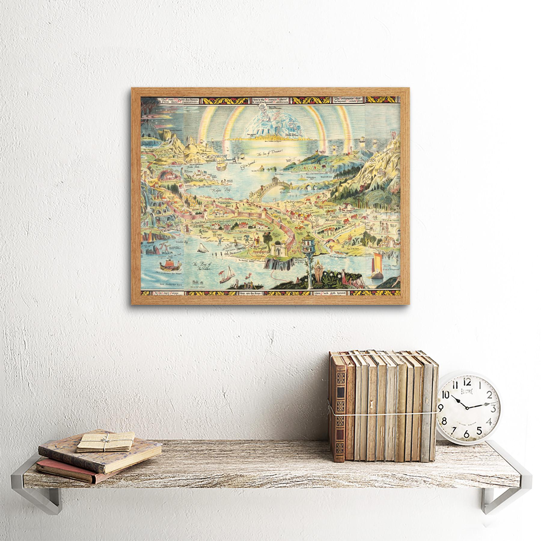 thumbnail 15 - Map-Sleigh-1918-Ancient-Fairyland-Fantasy-Chart-Wall-Art-Print-Framed-12x16