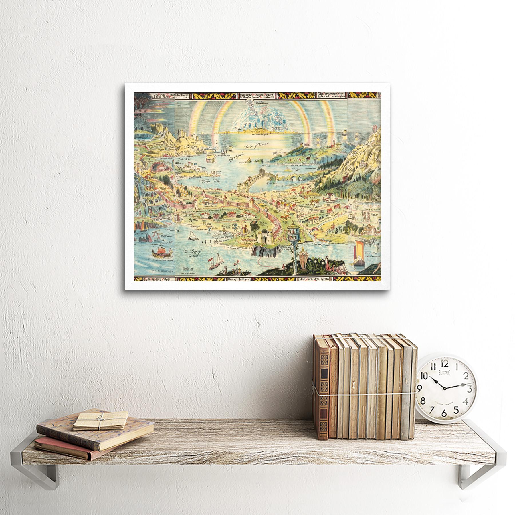 thumbnail 21 - Map-Sleigh-1918-Ancient-Fairyland-Fantasy-Chart-Wall-Art-Print-Framed-12x16
