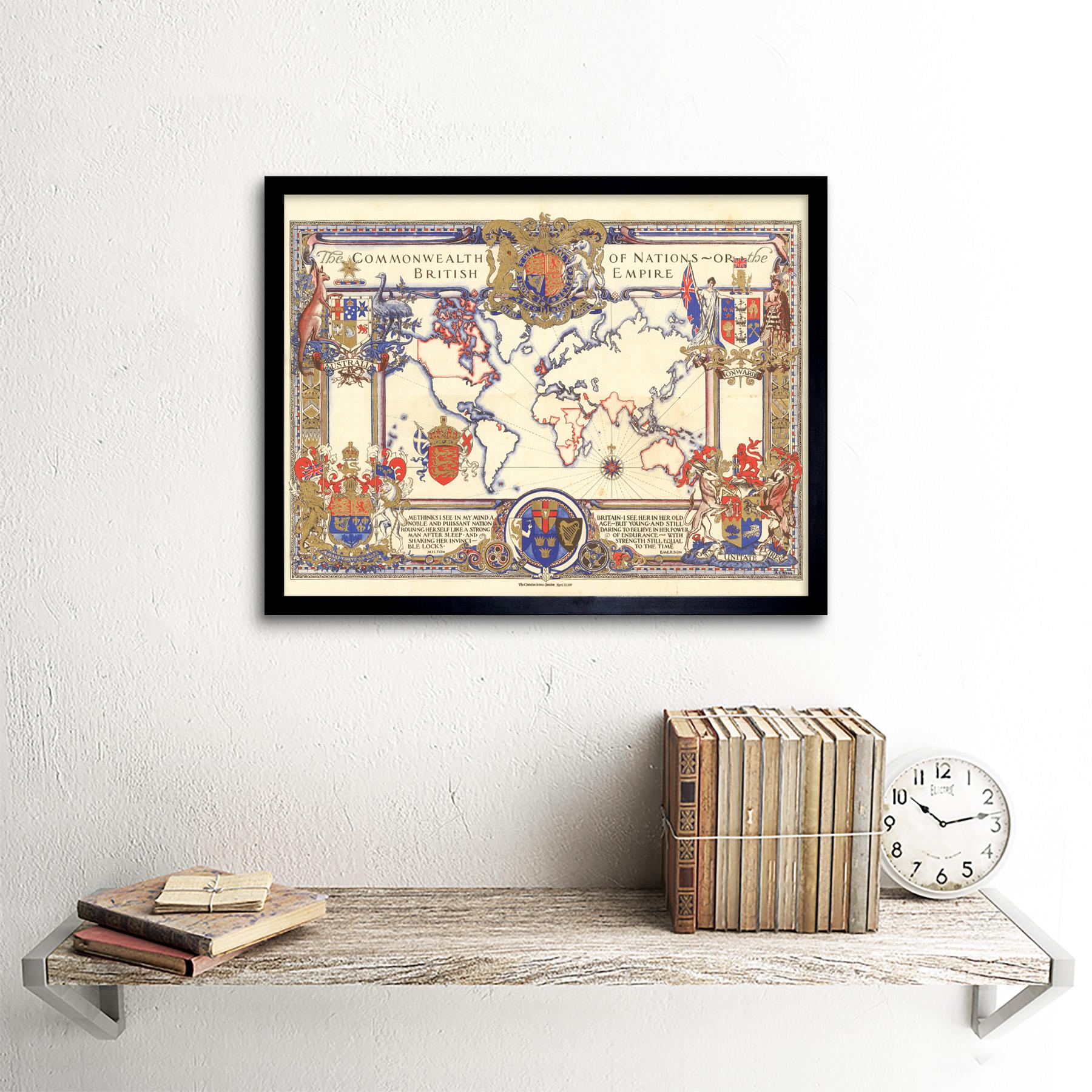 thumbnail 3 - Map-Webb-1937-British-Empire-Commonwealth-Pictorial-Wall-Art-Print-Framed-12x16