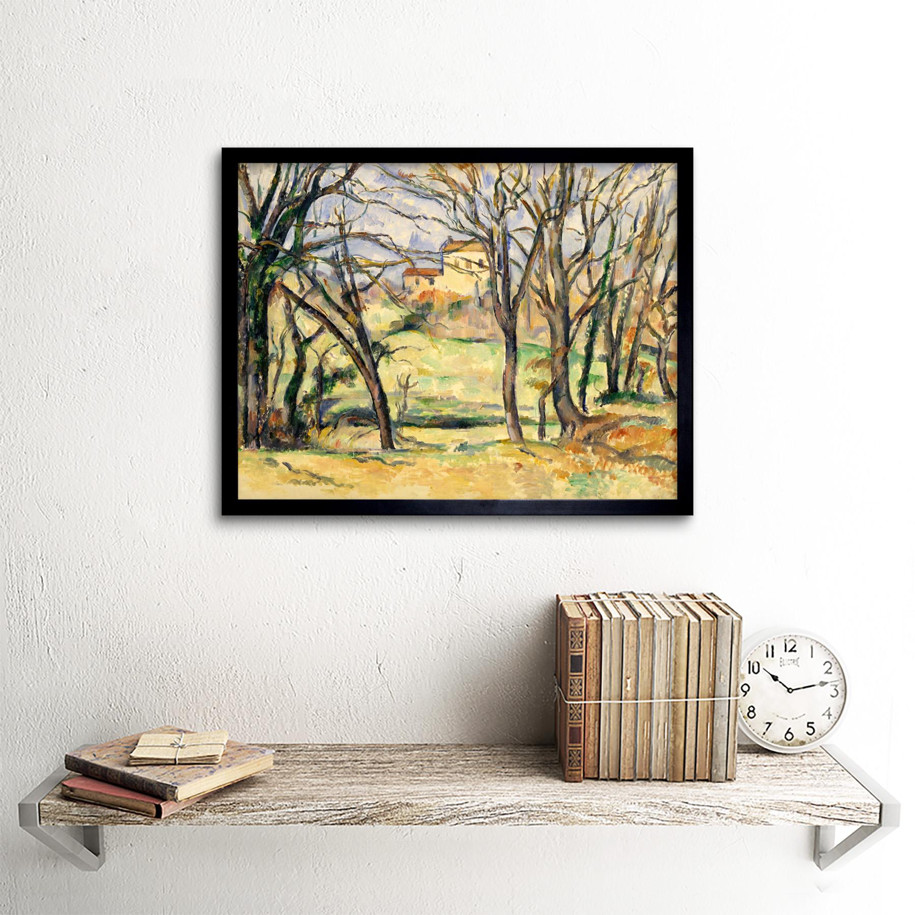 Cezanne-Trees-Houses-Near-Jas-De-Bouffan-Painting-Wall-Art-Print-Framed-12x16 miniatuur 3