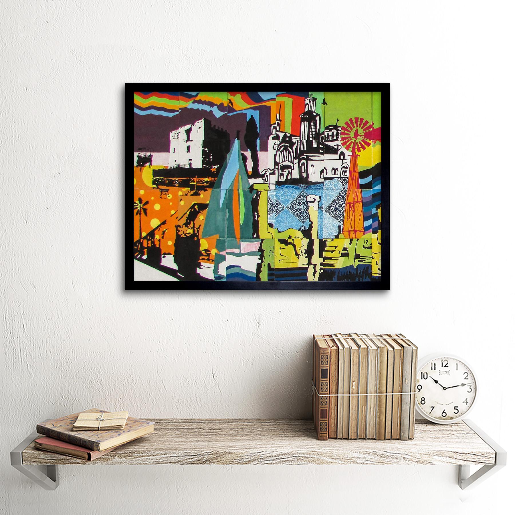 Graffiti-Mural-Paralimni-primaria-de-Chipre-Impresion-de-Arte-Decoracion-De-Pared-Poster-Enmarcado miniatura 3