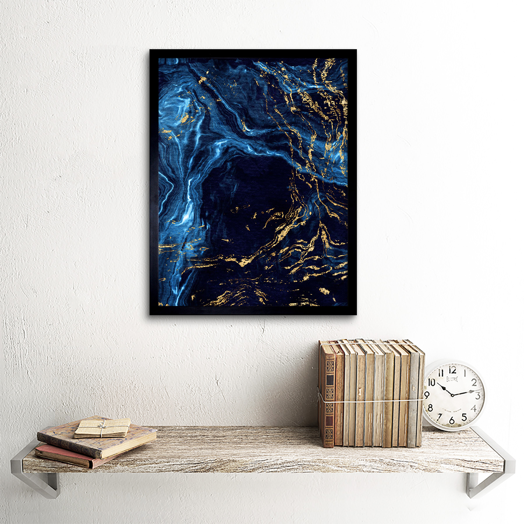 Abstract Dark Blue Gold Water Art Print Framed Poster Wall Decor